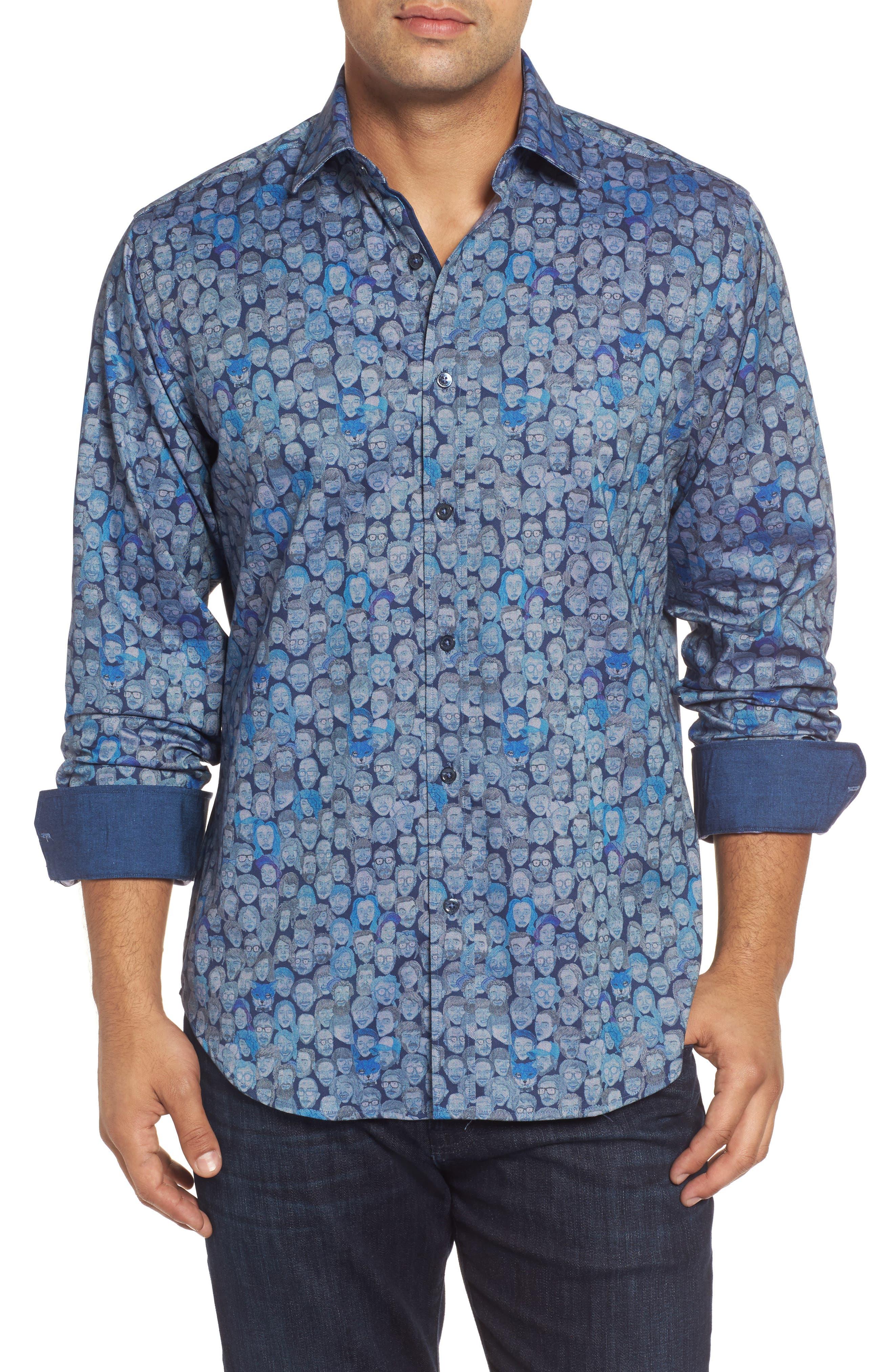 Classic Fit Face Print Sport Shirt,                             Main thumbnail 1, color,                             Classic Blue