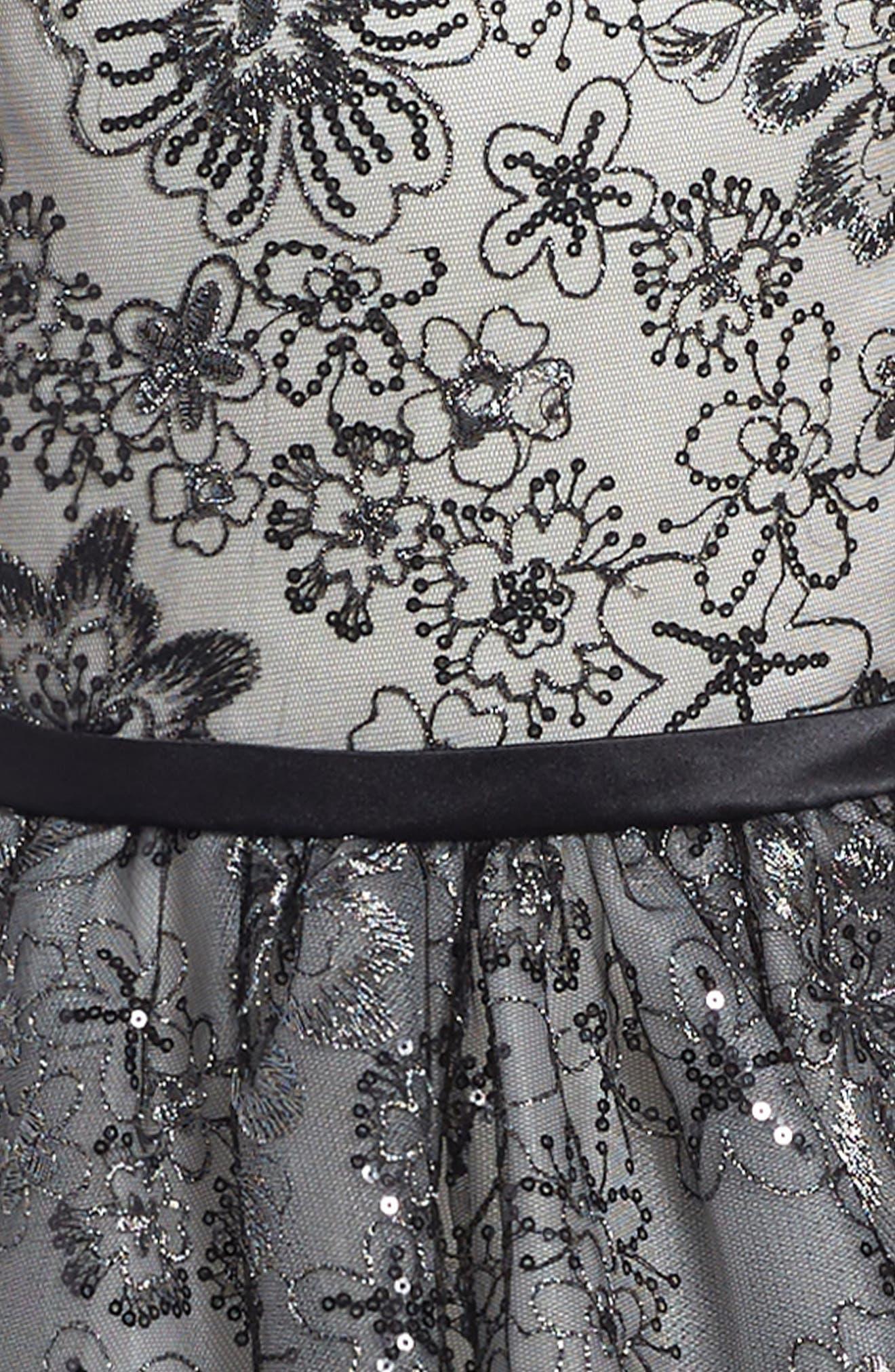 Sequin & Lace Dress,                             Alternate thumbnail 3, color,                             Black/ Ivory