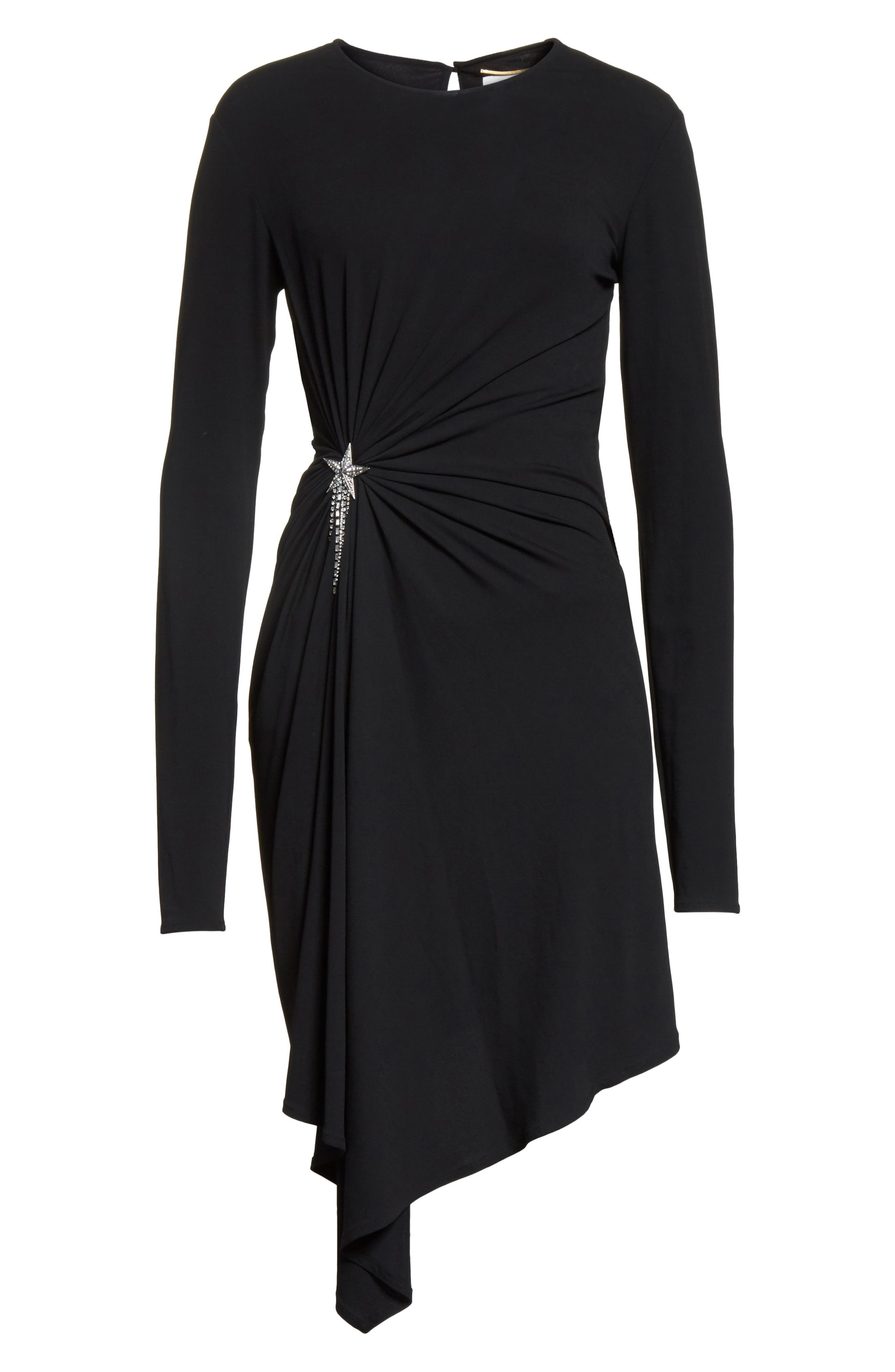 Ruched Side Drape Jersey Dress,                             Alternate thumbnail 7, color,                             Black
