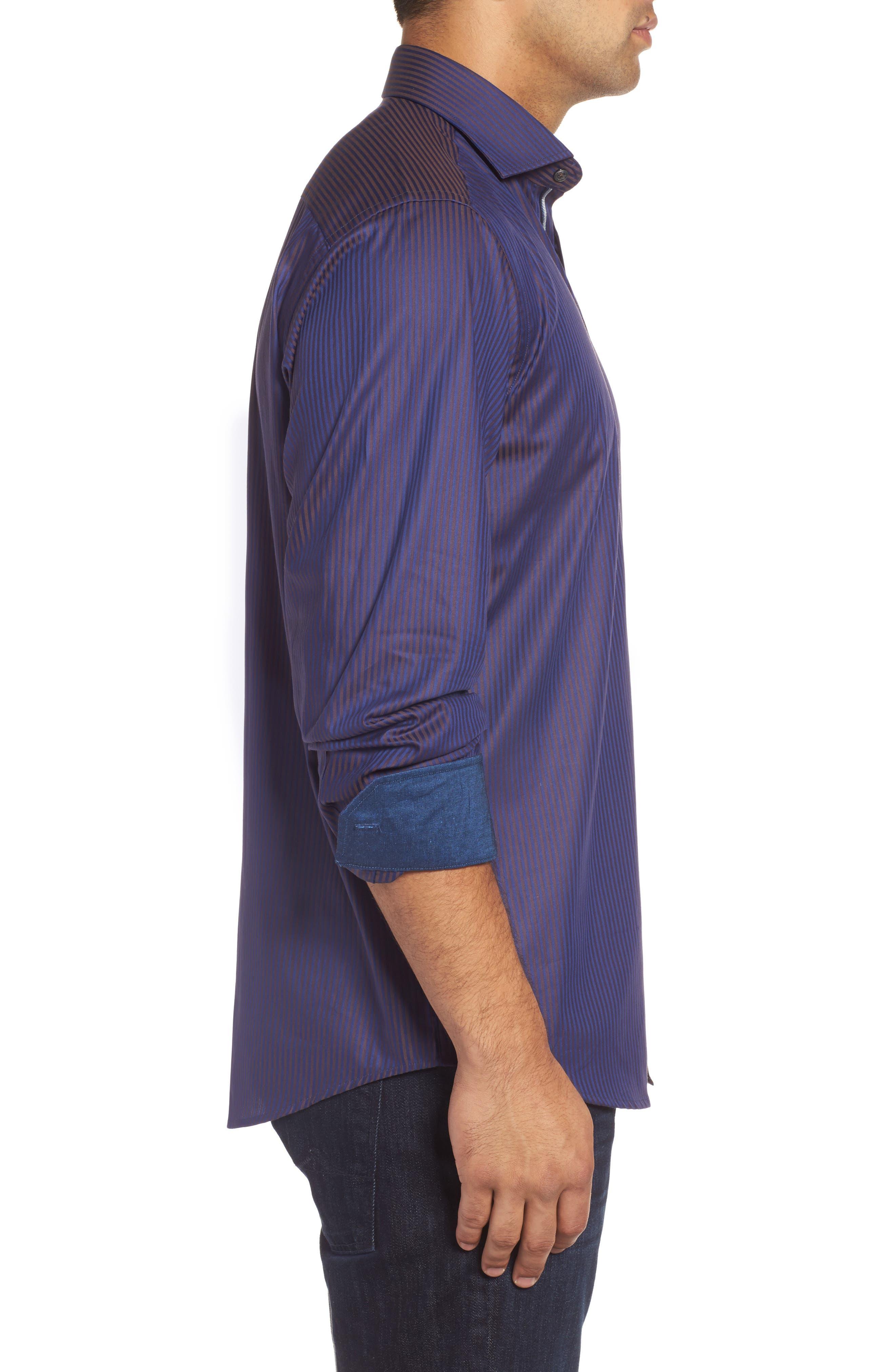Alternate Image 3  - Bugatchi Classic Fit Herringbone Pinstripe Sport Shirt