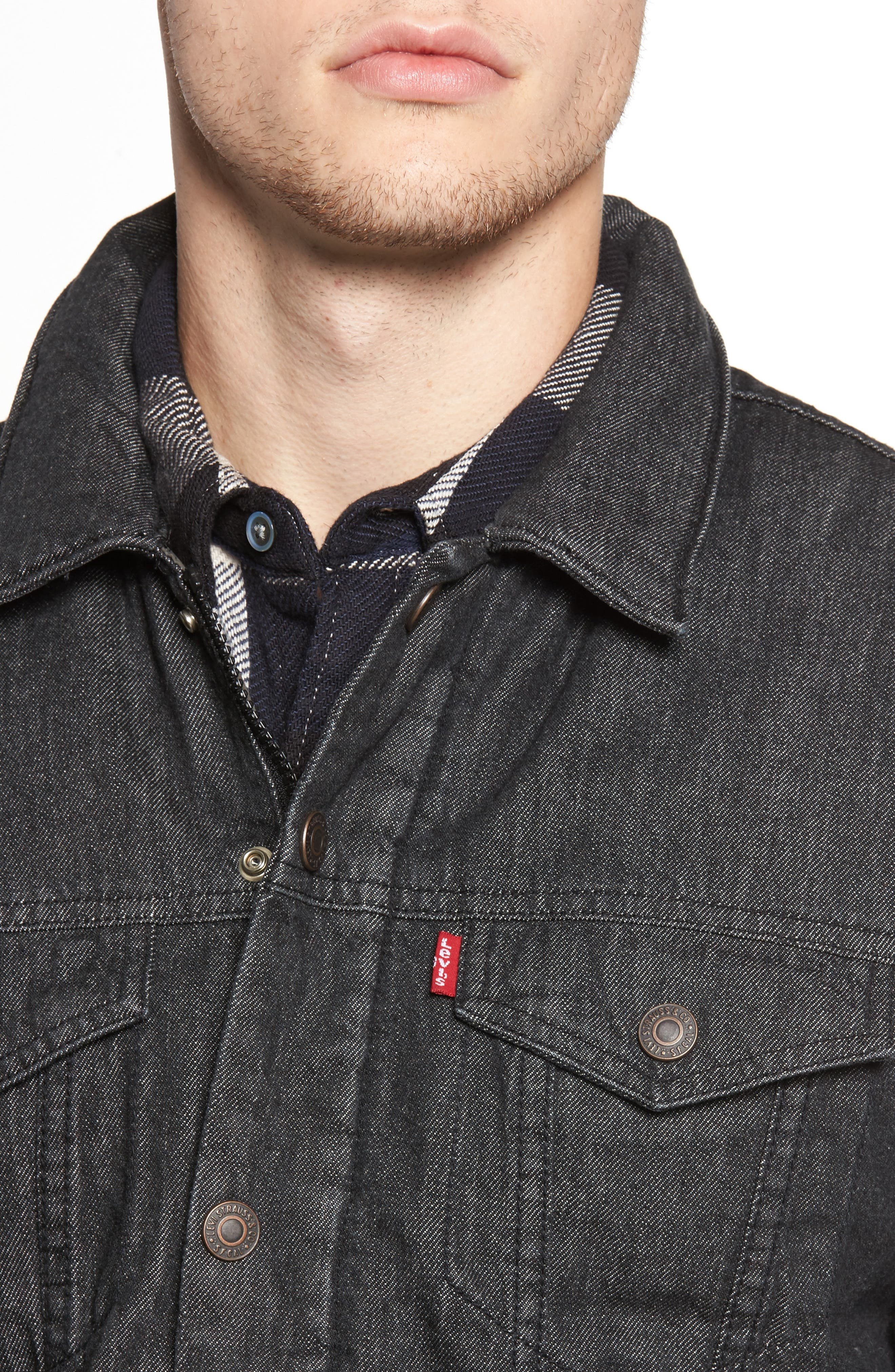 Down Insulated Trucker Jacket,                             Alternate thumbnail 4, color,                             Black