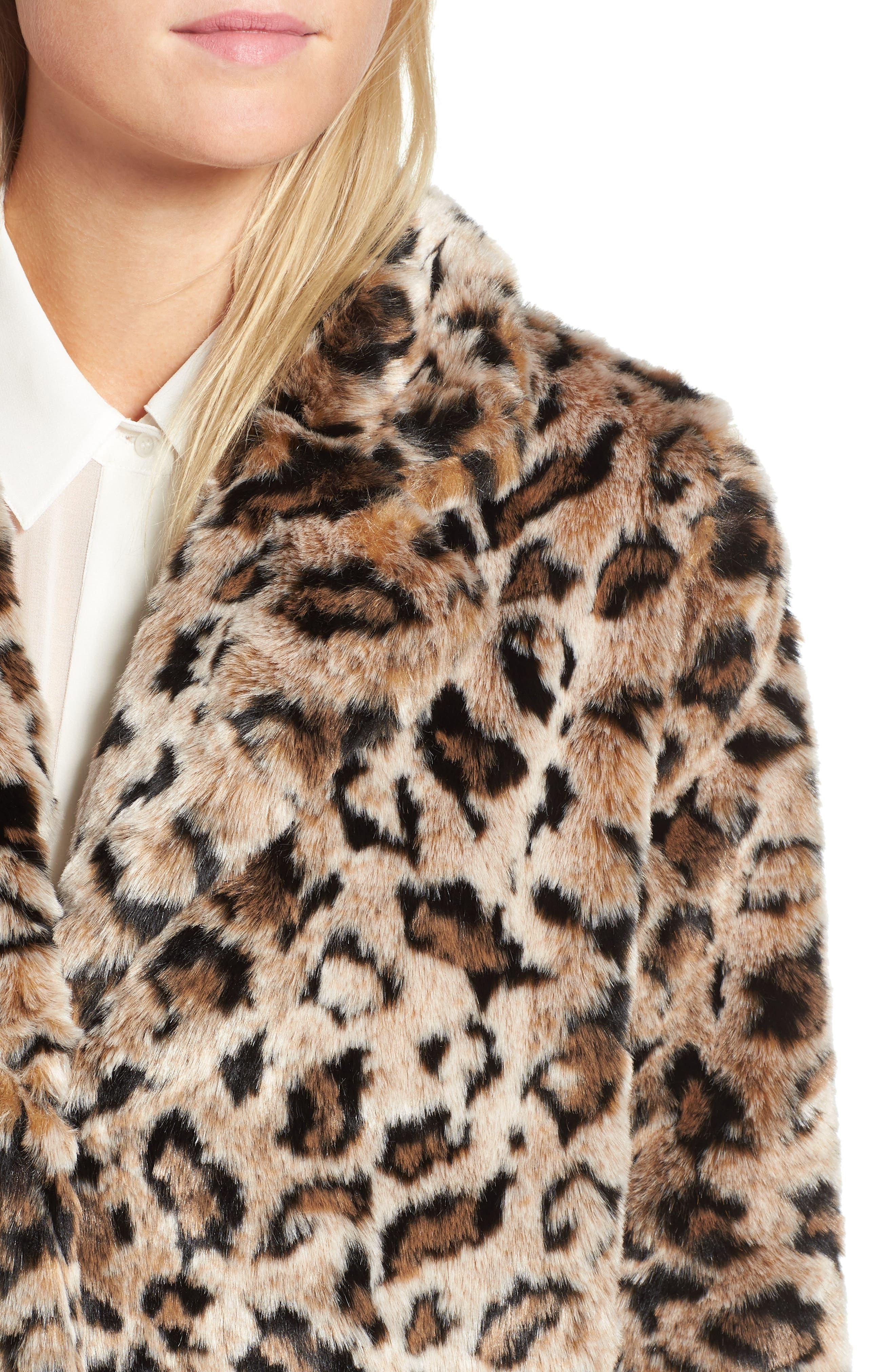 Rooney Leopard Spot Faux Fur Coat,                             Alternate thumbnail 4, color,                             Brown