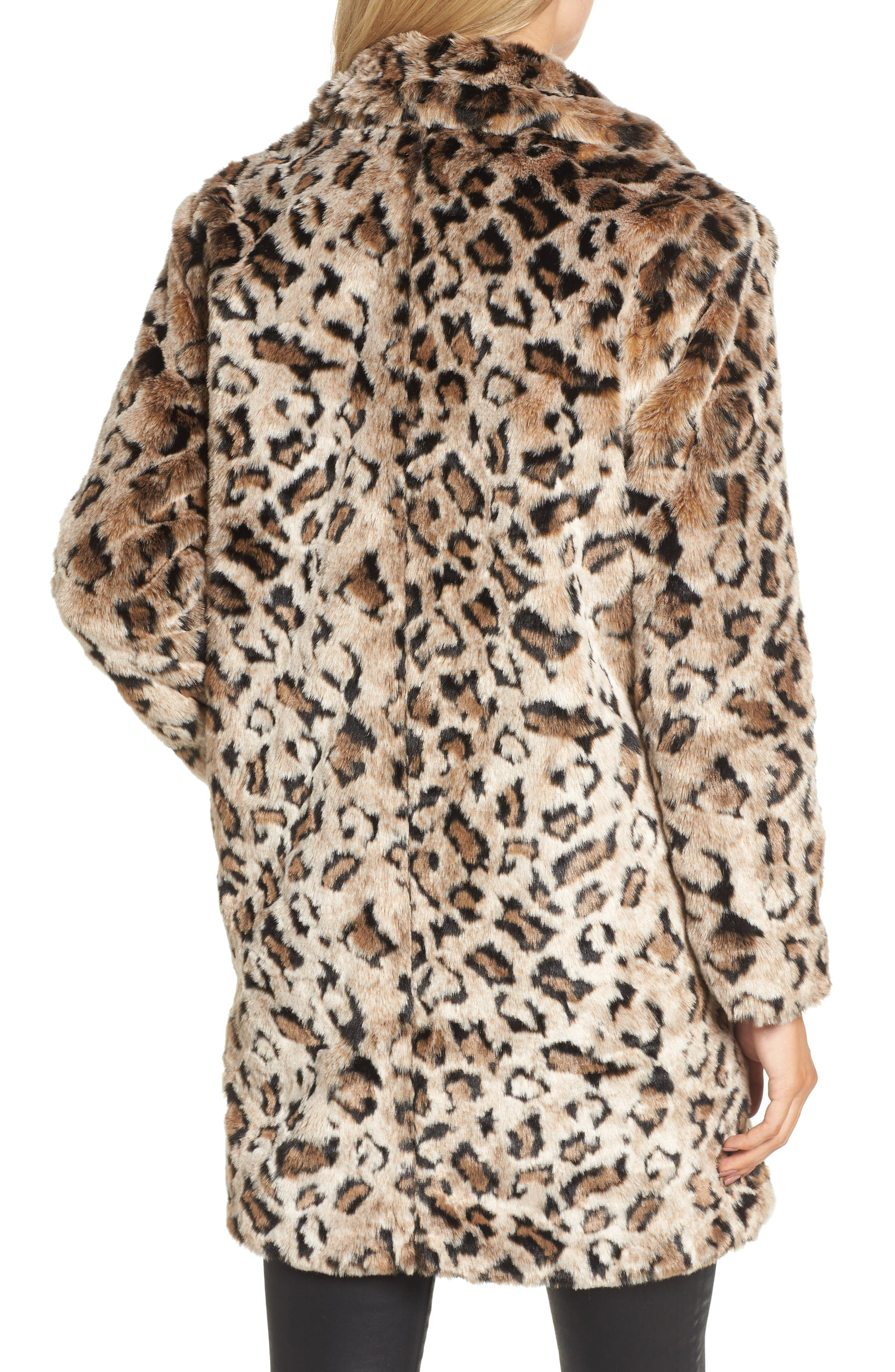 Rooney Leopard Spot Faux Fur Coat,                             Alternate thumbnail 2, color,                             Brown