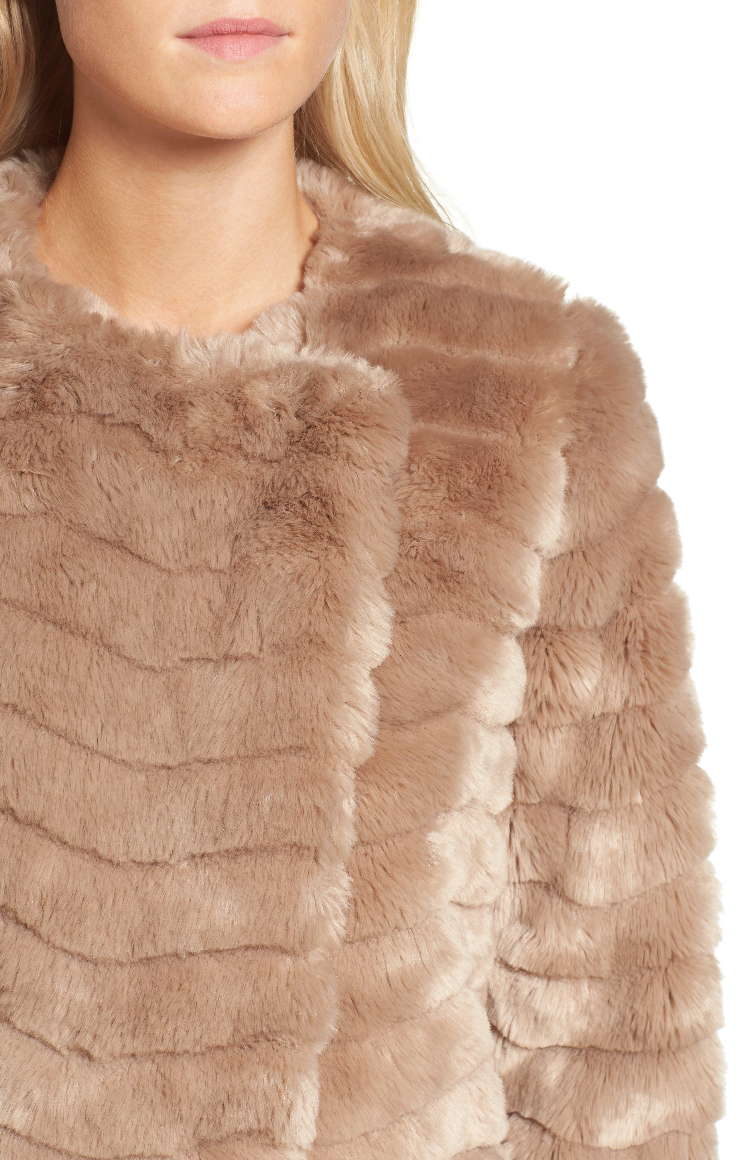 McCoy Faux Fur Coat,                             Alternate thumbnail 4, color,                             Camel