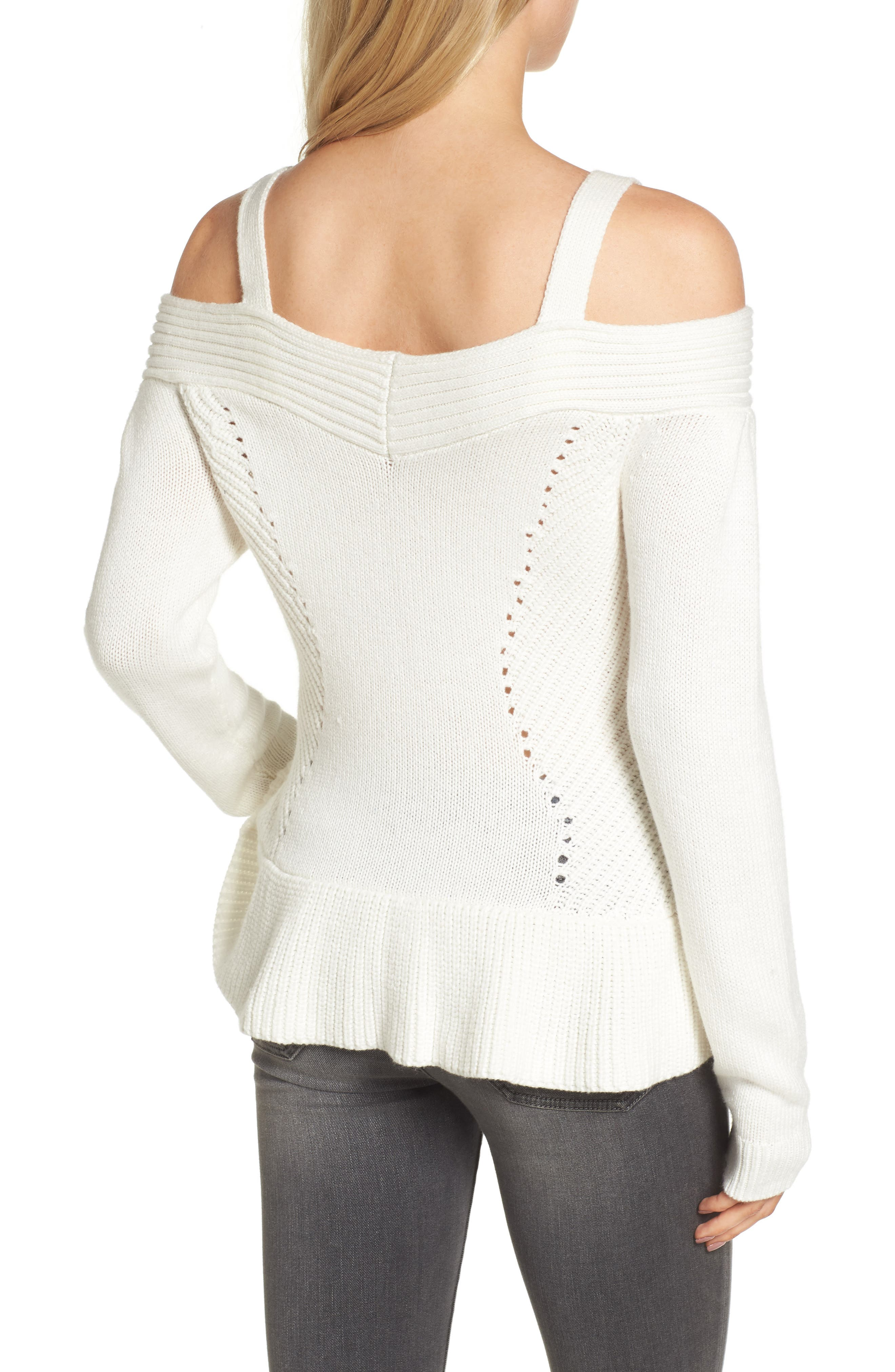 Chelsea 28 Cold Shoulder Sweater,                             Alternate thumbnail 2, color,                             Ivory