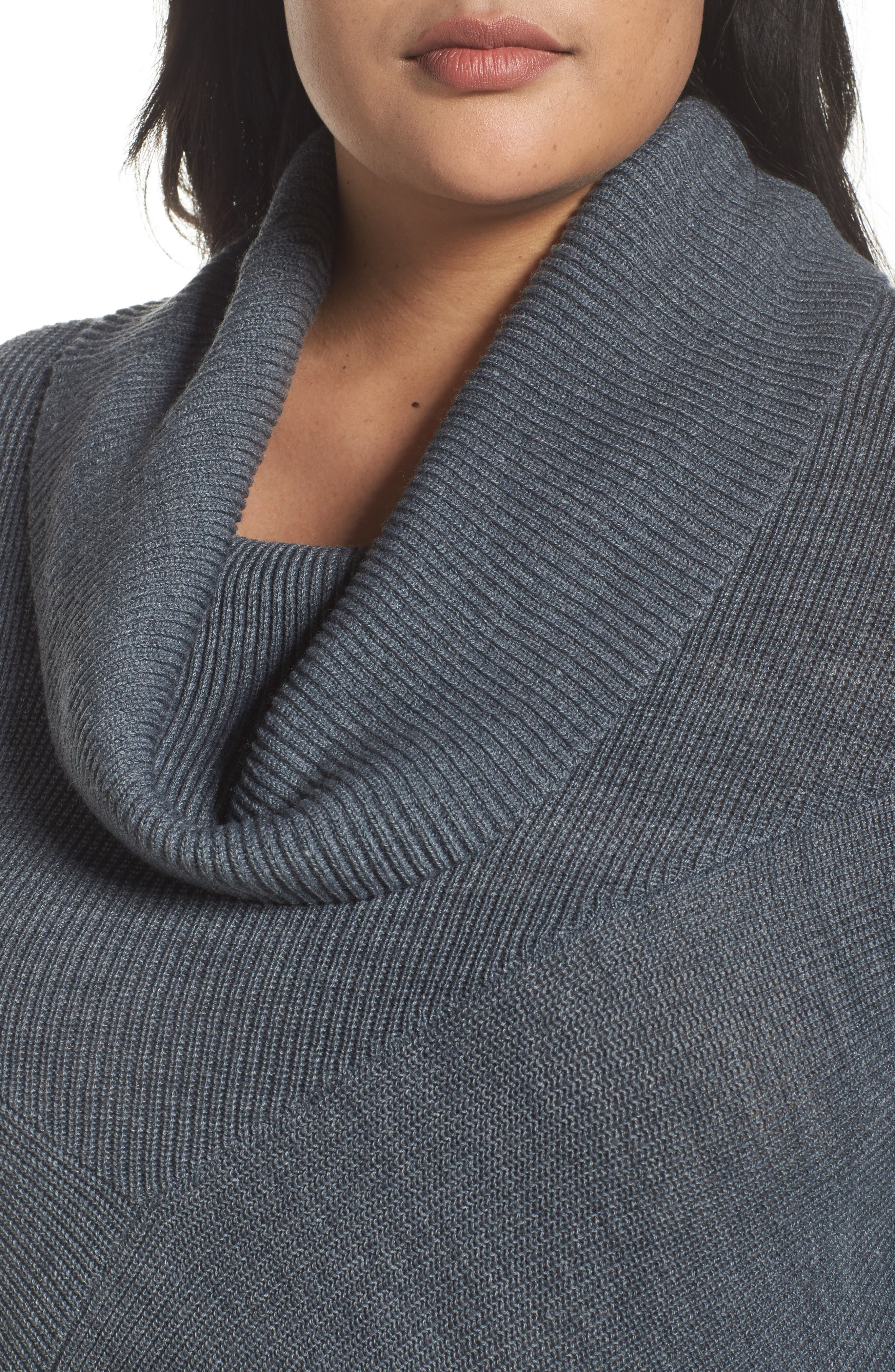 Cowl Neck Ribbed Trim Pullover,                             Alternate thumbnail 4, color,                             Grey Dark Heather