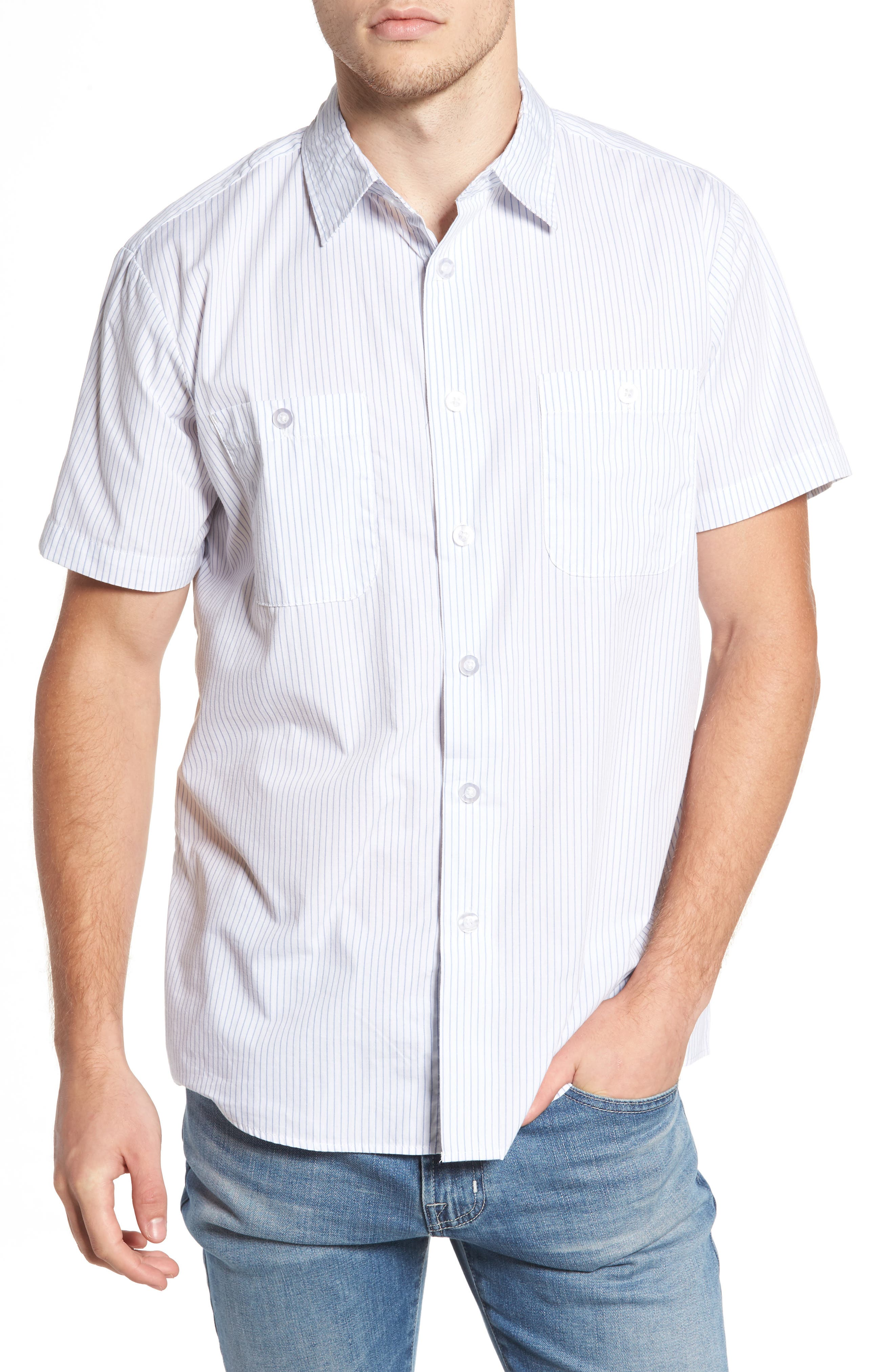 Reeve Pinstripe Woven Shirt,                         Main,                         color, White/ Blue