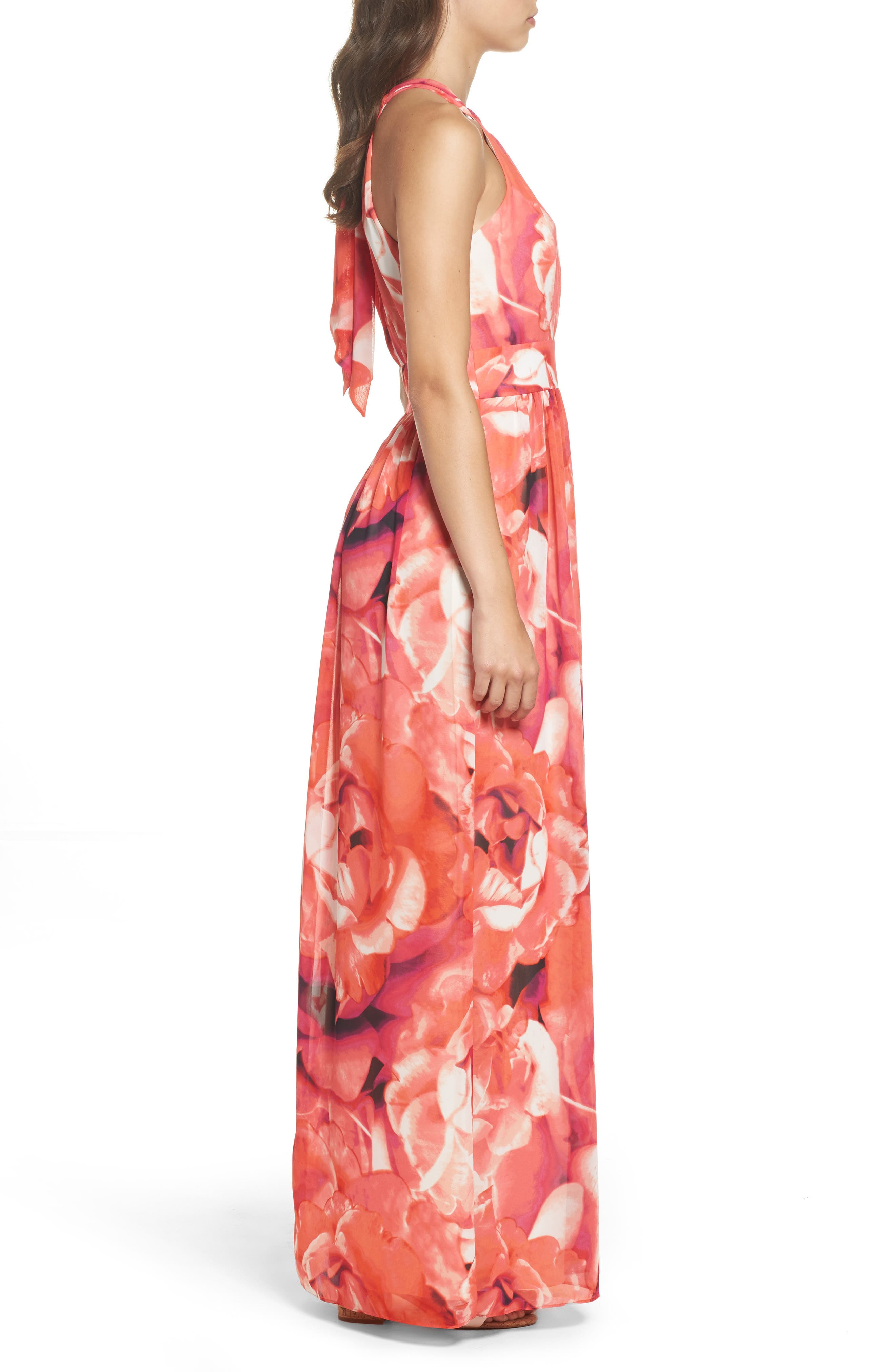 Print Chiffon Fit & Flare Maxi Dress,                             Alternate thumbnail 3, color,                             Pink