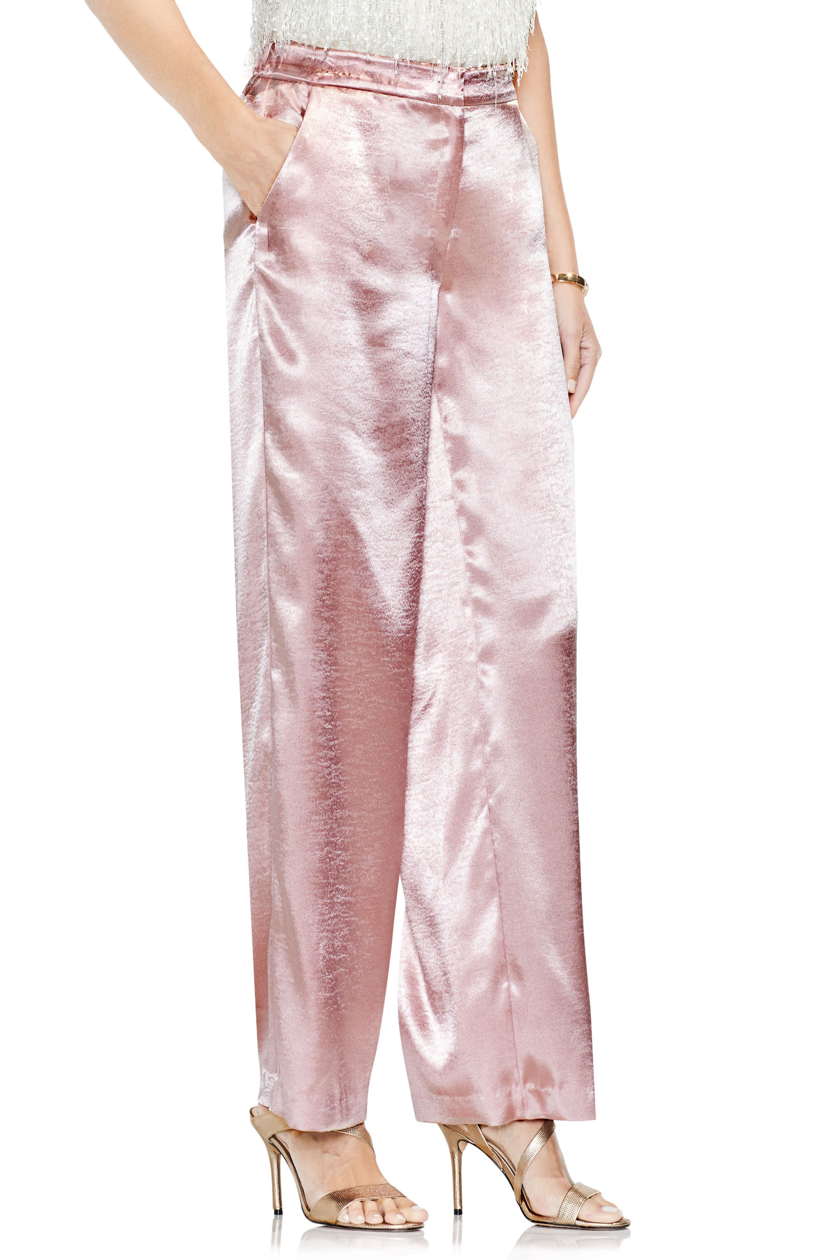 Main Image - Vince Camuto Wide Leg Hammered Satin Pants