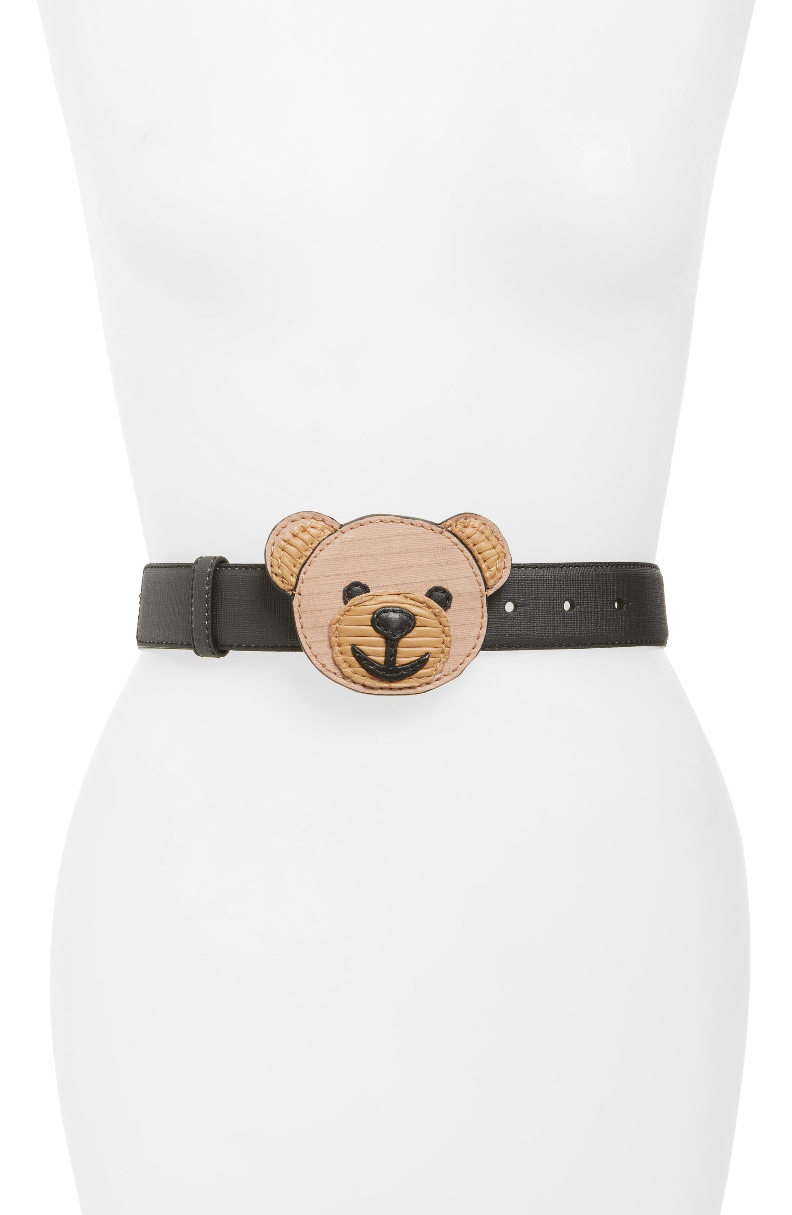Moschino Editorial Logo Faux Leather Belt