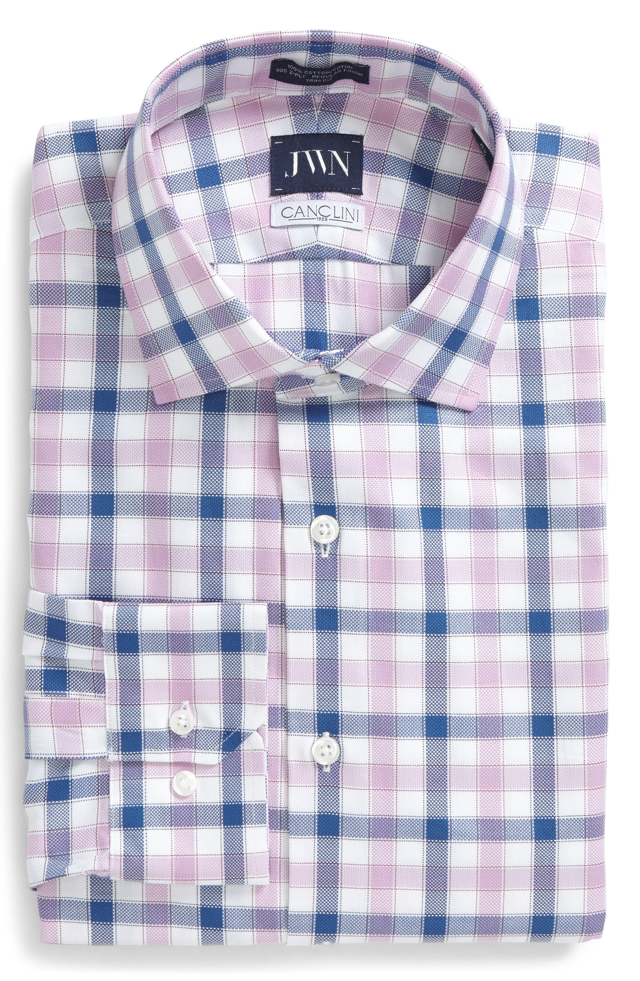 Trim Fit Plaid Dress Shirt,                         Main,                         color, Pink Gale