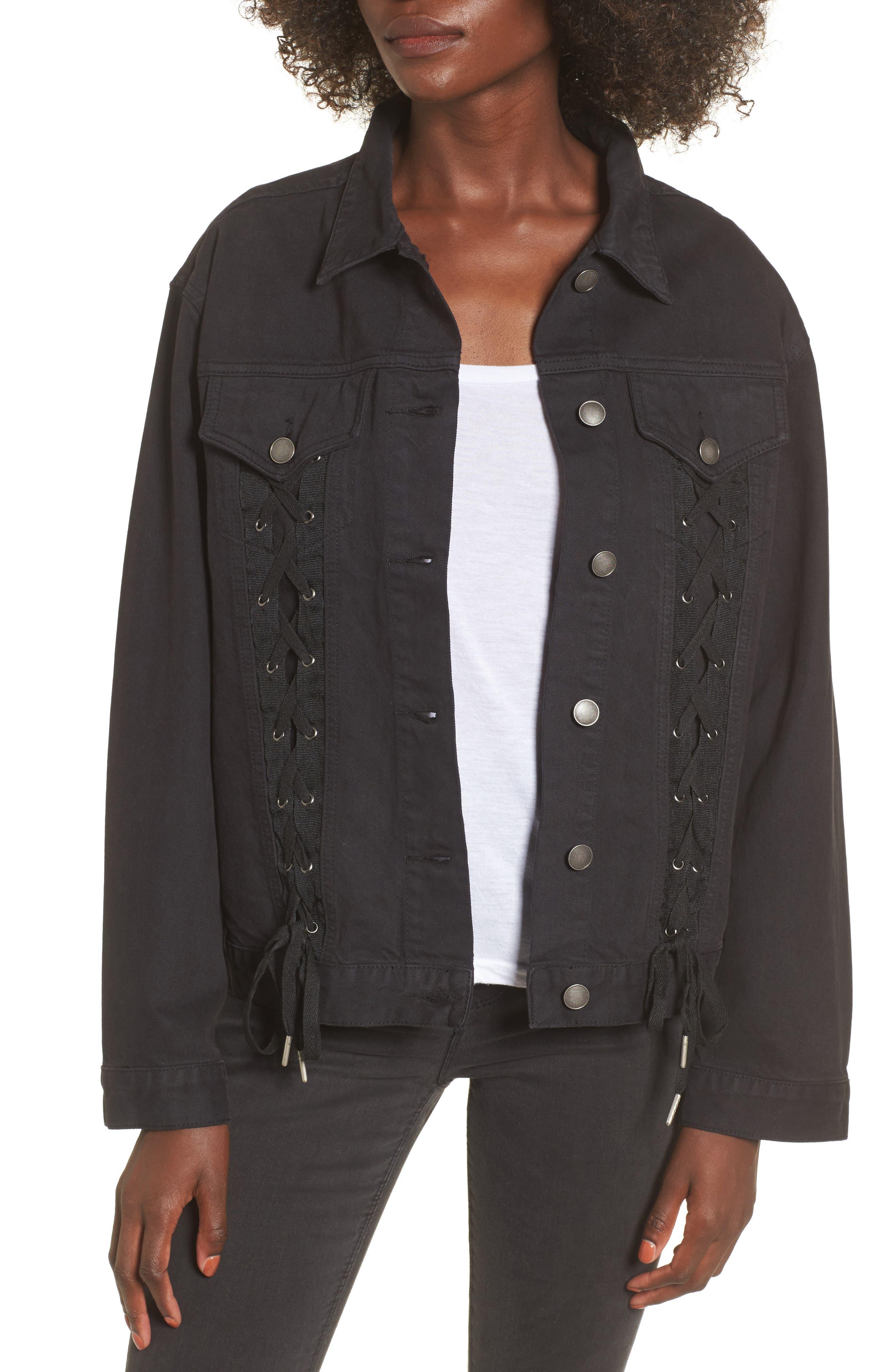 Lace-Up Denim Jacket,                             Main thumbnail 1, color,                             Black