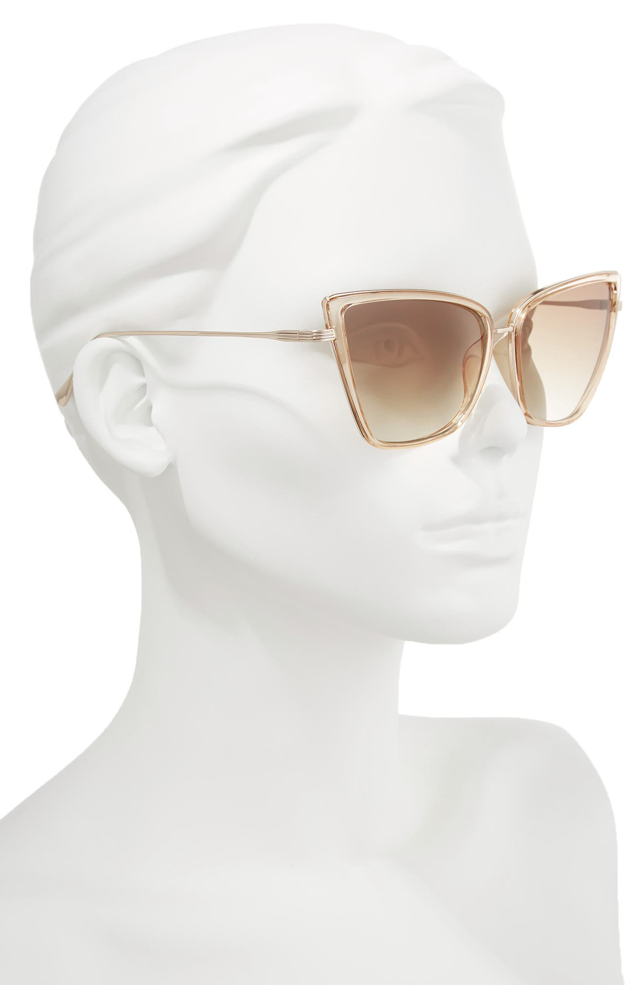 55mm Cat Eye Sunglasses,                             Alternate thumbnail 2, color,                             Nude