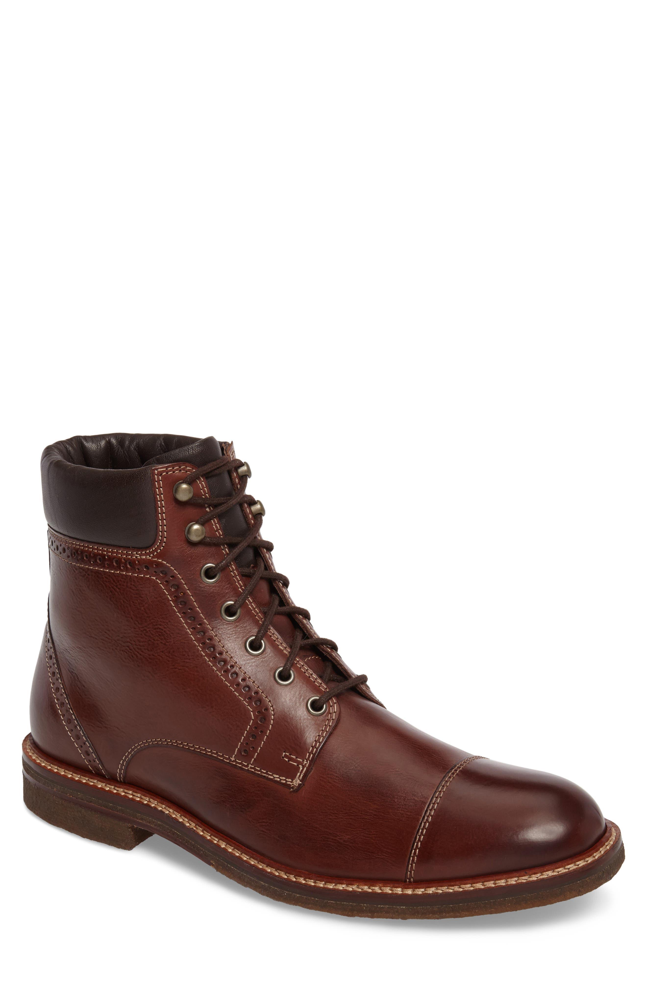 Forrester Cap Toe Boot,                             Main thumbnail 1, color,                             Mahogany Leather