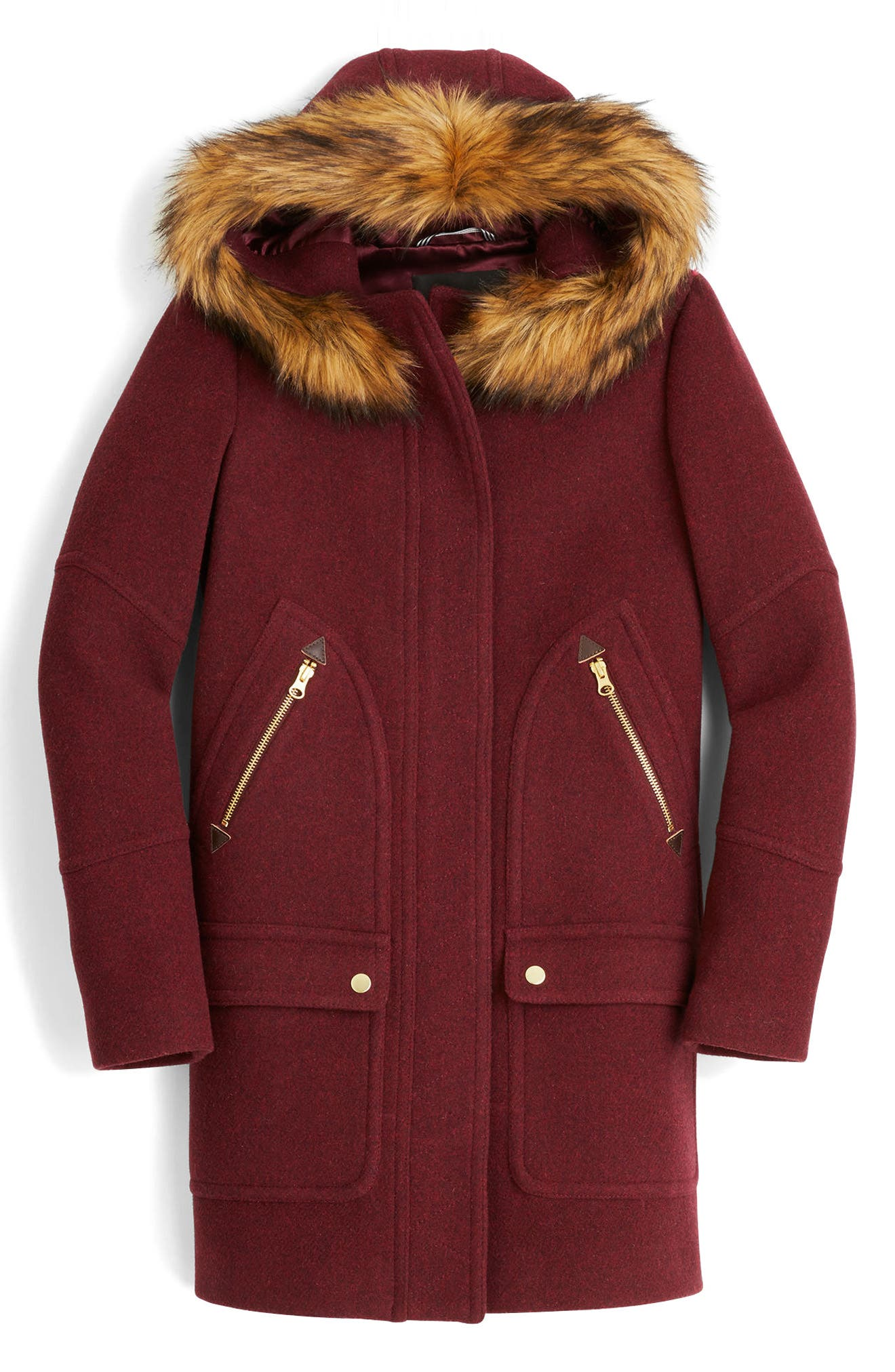 Chateau Stadium Cloth Parka with Faux Fur Trim,                             Main thumbnail 1, color,                             Heather Fire Red