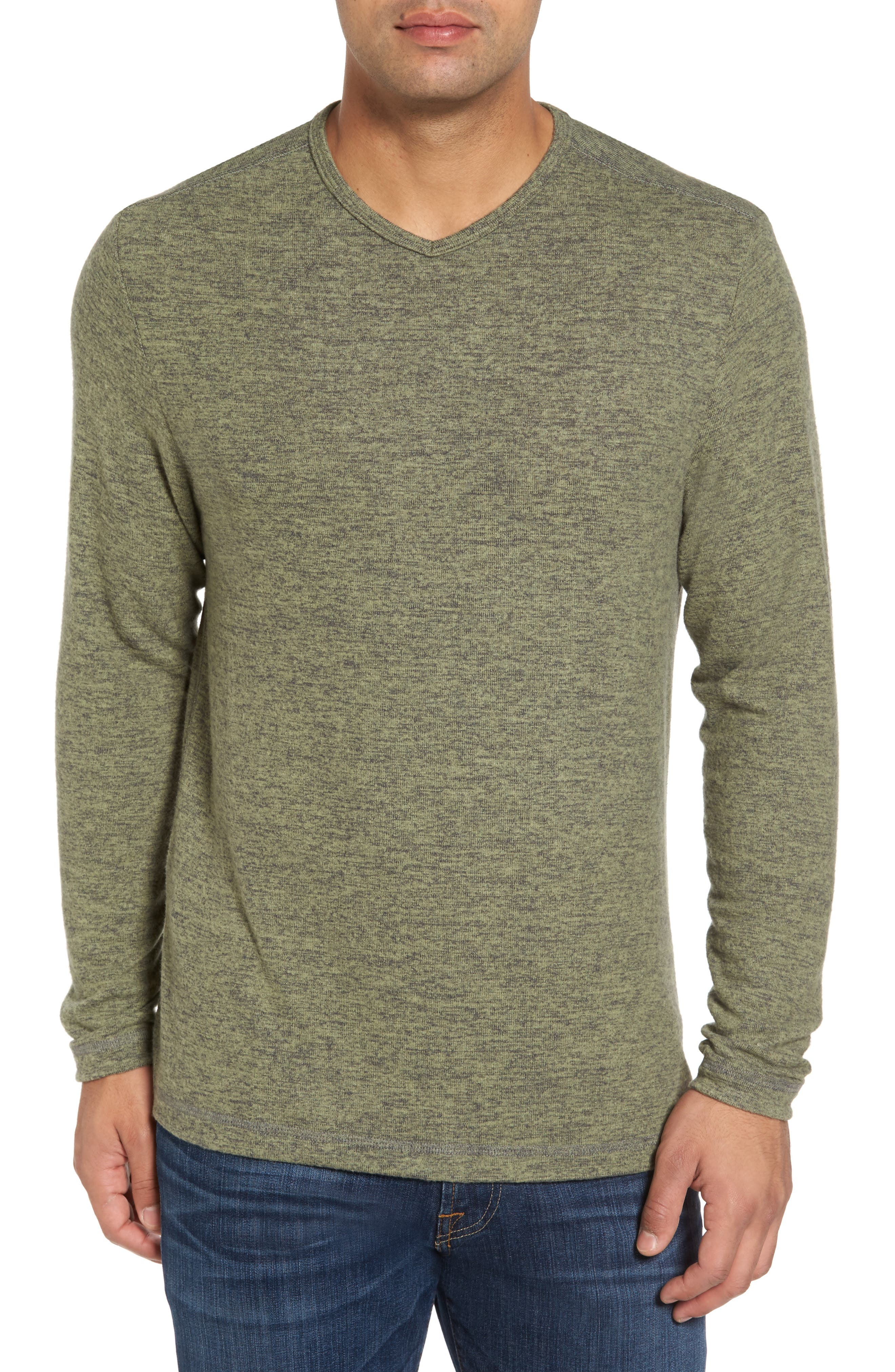 'Leeward' V-Neck Long Sleeve T-Shirt,                             Main thumbnail 1, color,                             Duty Tyme Heather
