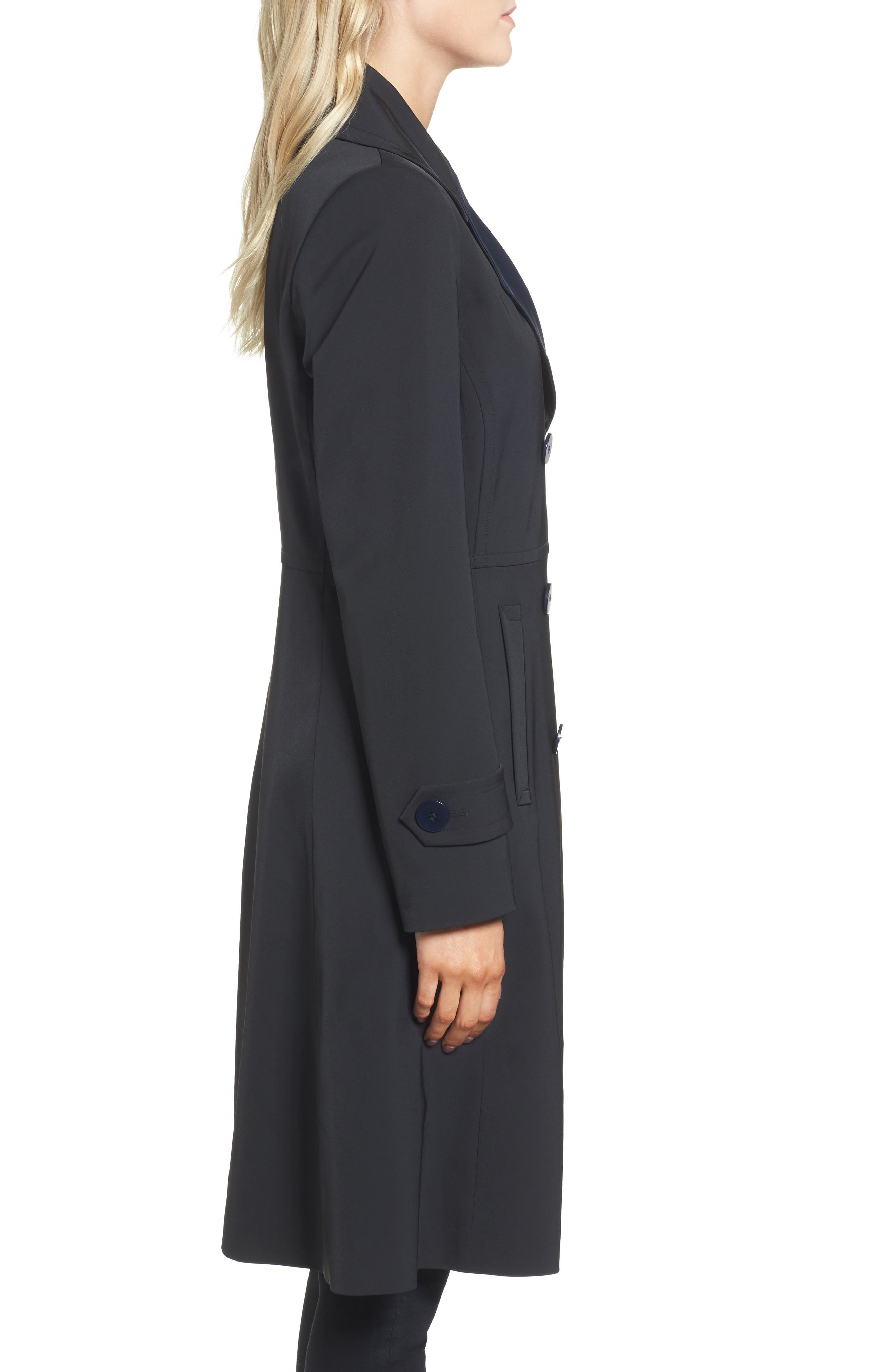 Isabella Two-Tone Double Breasted Trench Raincoat,                             Alternate thumbnail 3, color,                             Black/ Navy