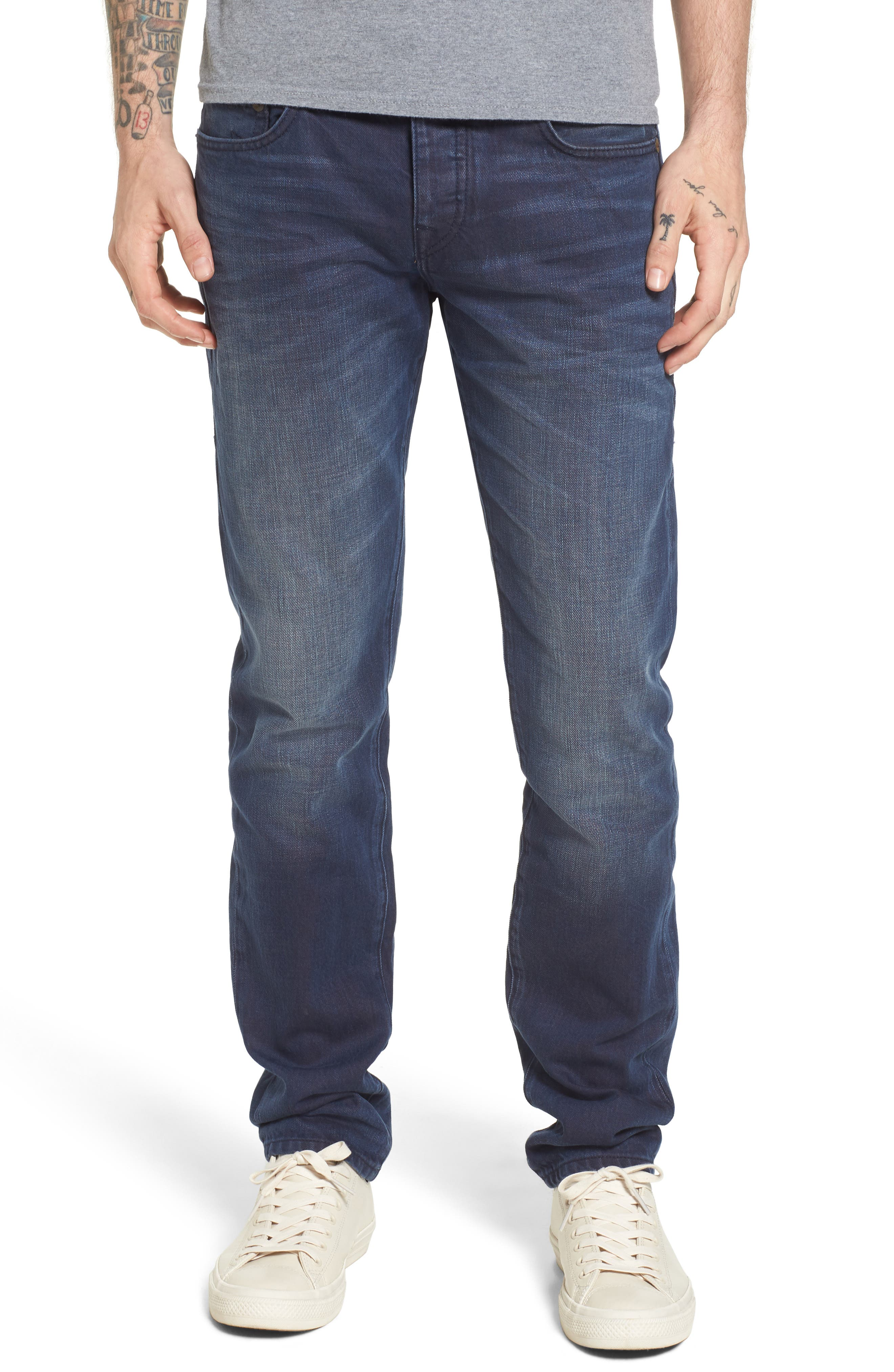 True Religion Brand Jeans Rocco Skinny Fit Jeans (Blue Mariner)