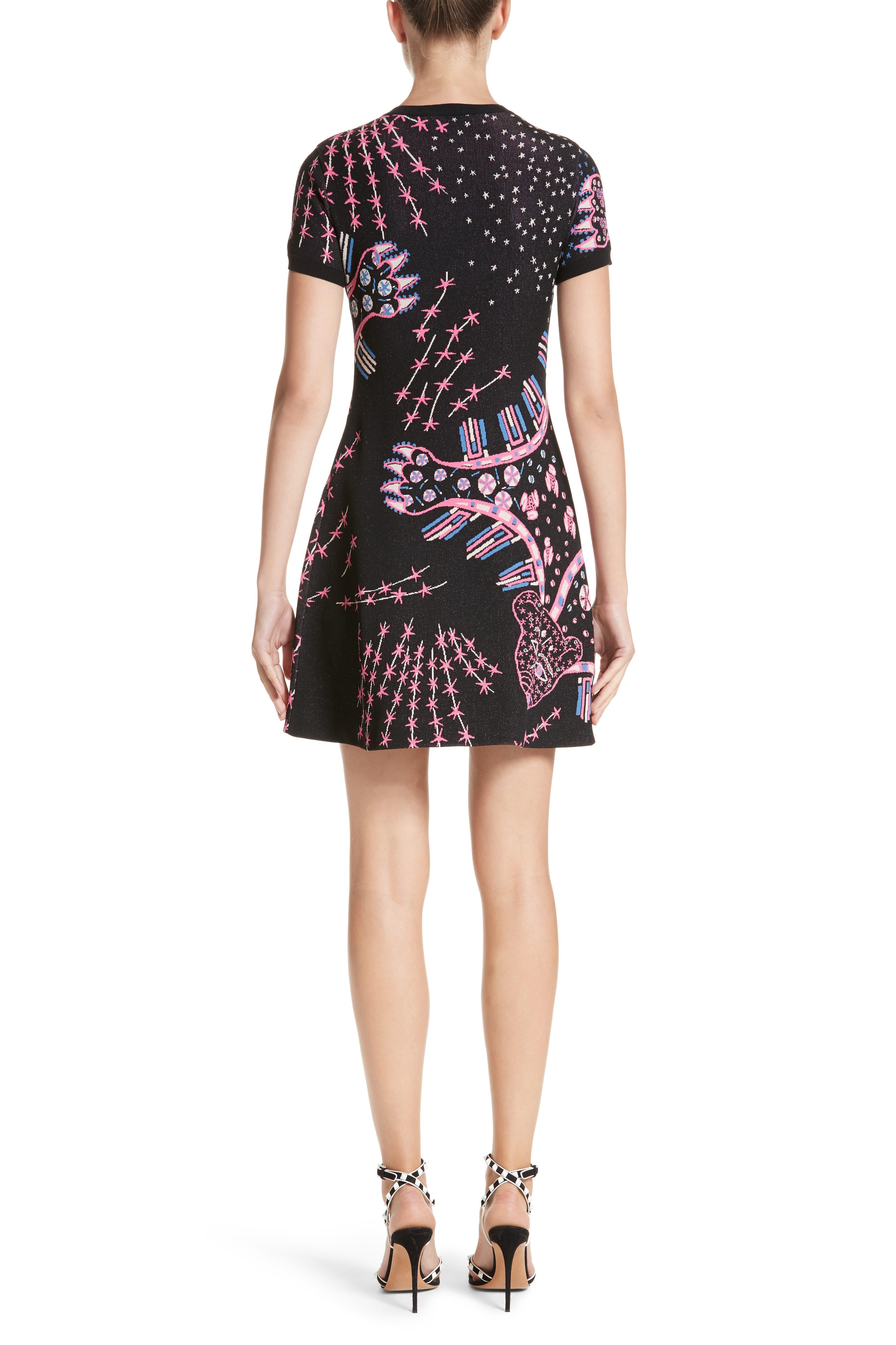 Leopard Stretch Knit Dress,                             Alternate thumbnail 2, color,                             Black Multi