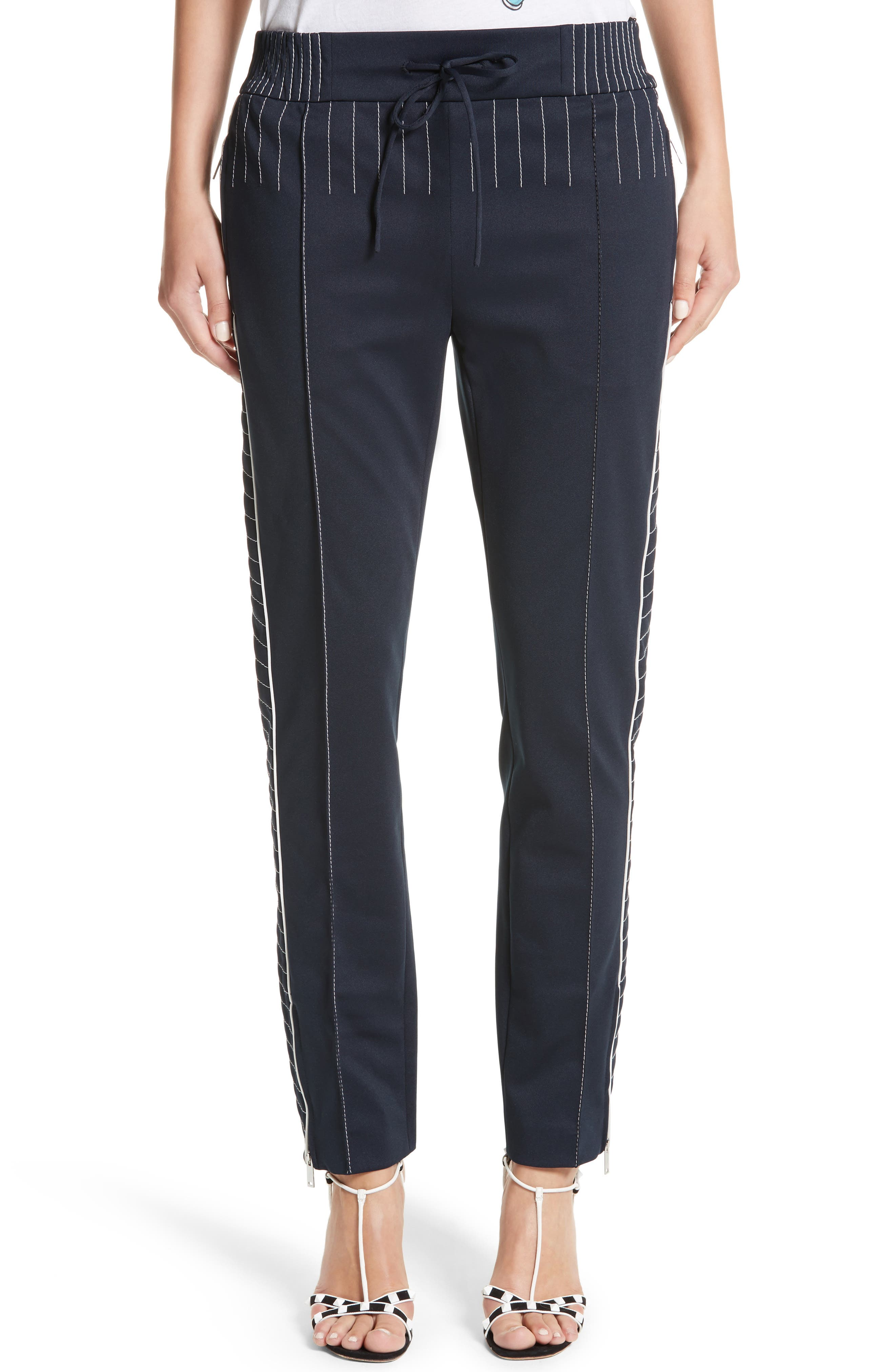 Techno Stretch Jersey Track Pants,                             Main thumbnail 1, color,                             Navy