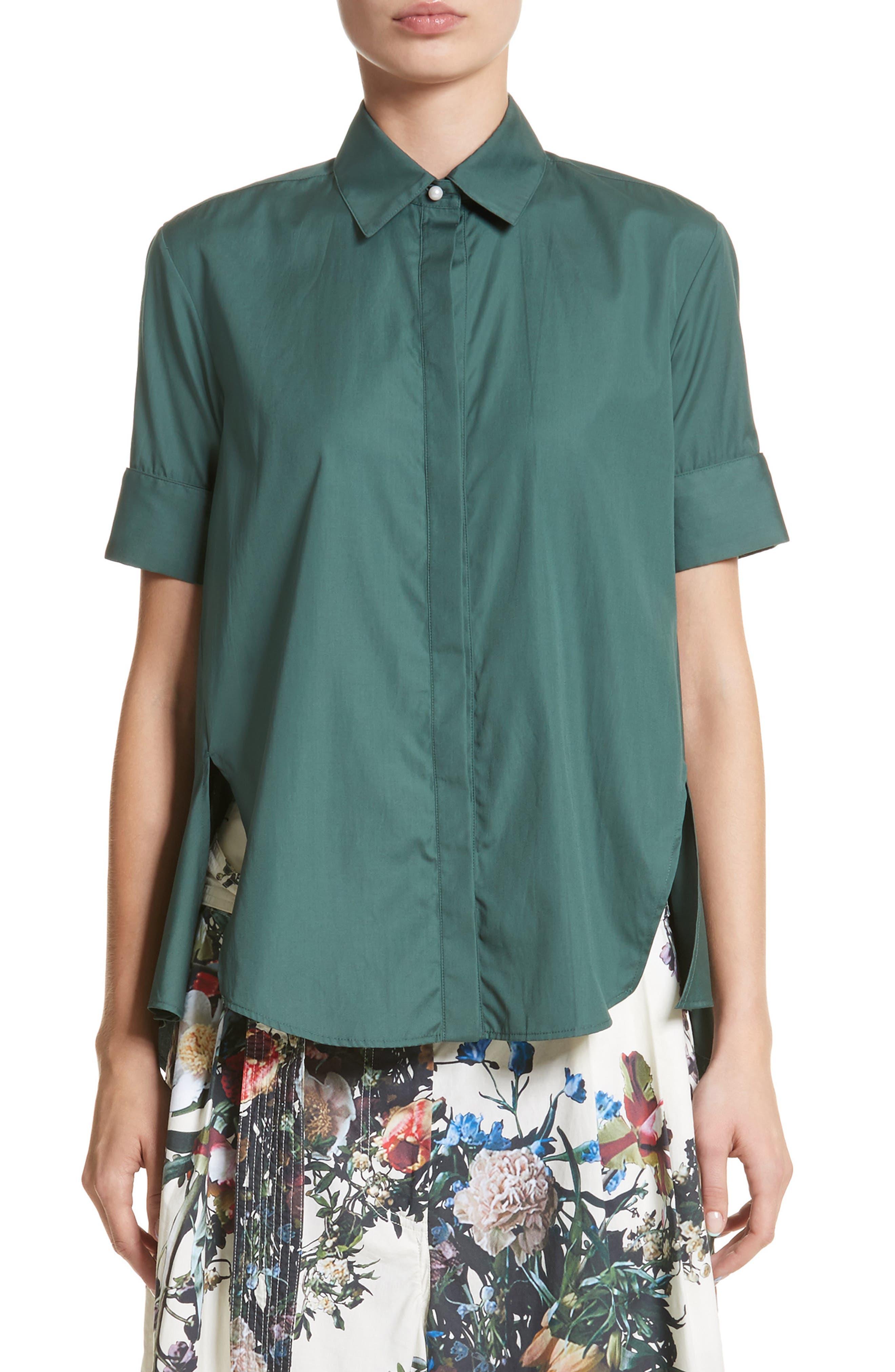 Cotton Poplin Trapeze Shirt,                         Main,                         color, Sage