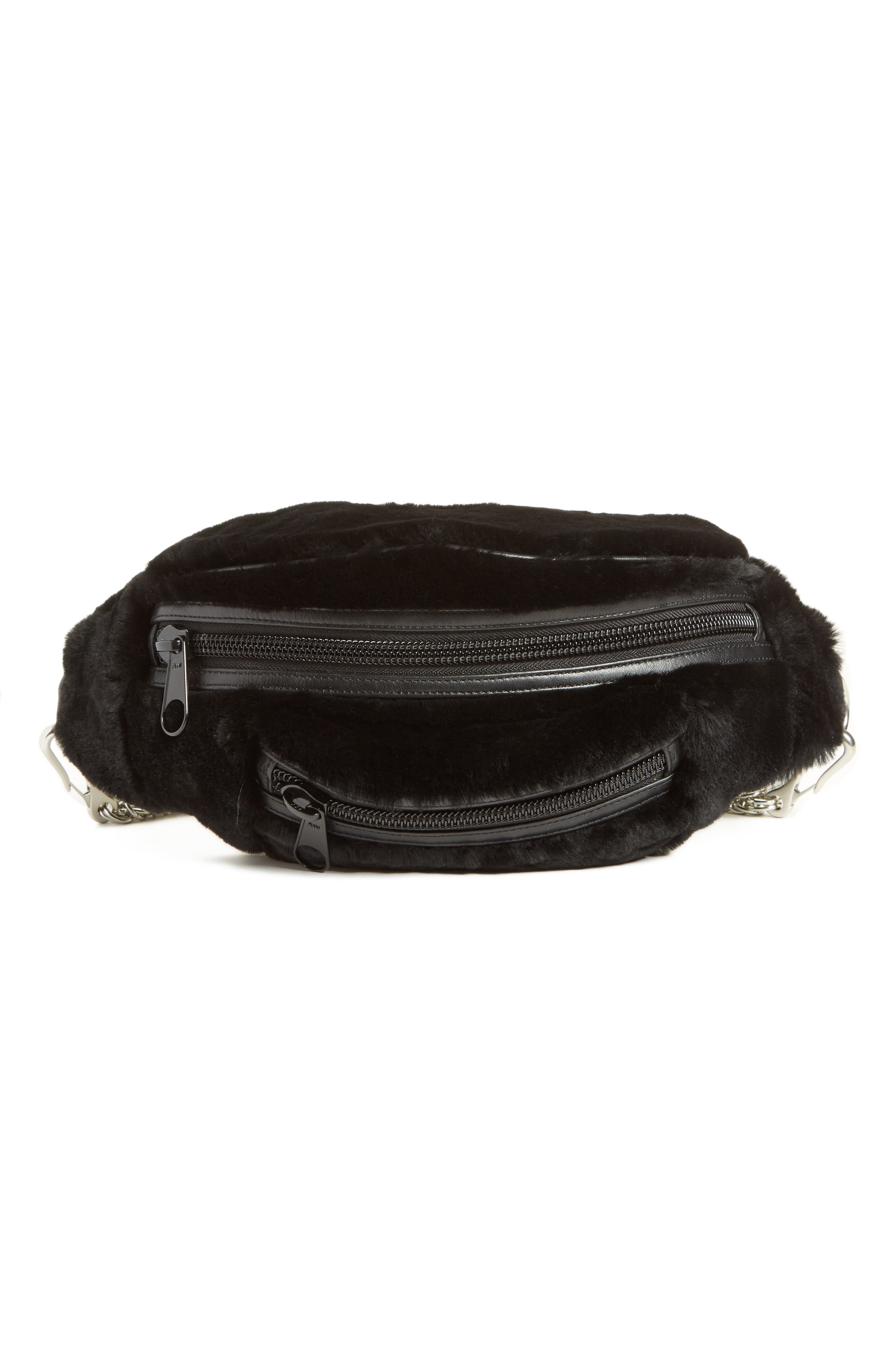 Alexander Wang Primary Box Chain Genuine Shearling Fanny Pack