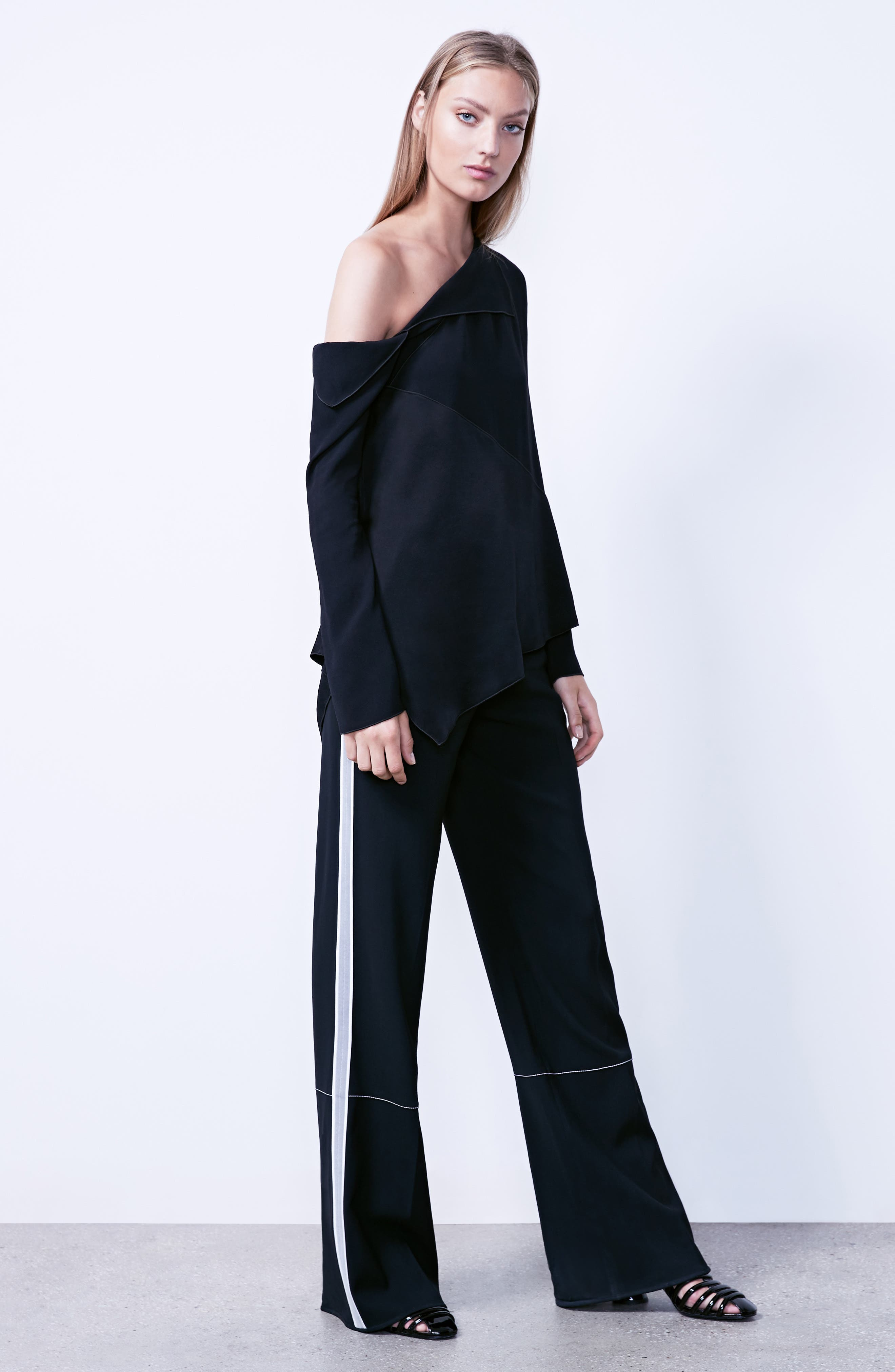 Racing Stripe Wide Leg Pants,                             Alternate thumbnail 2, color,                             Black