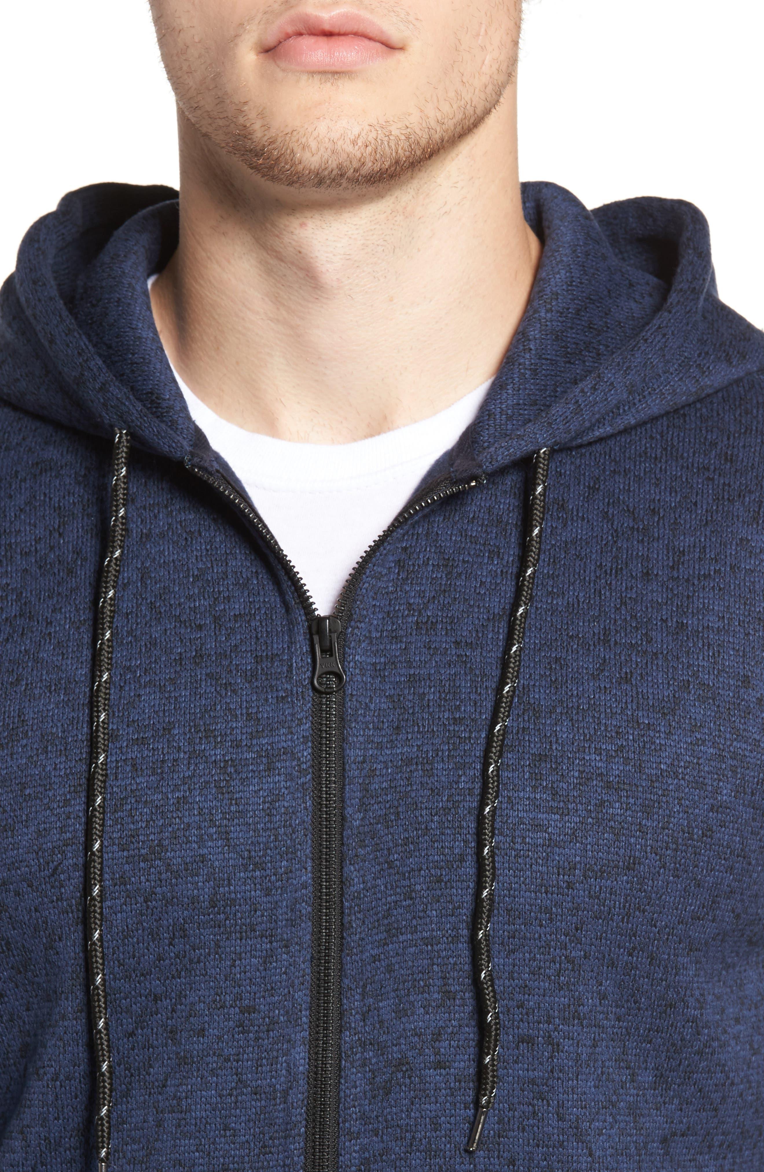 The Rail Zip Front Sweater Hoodie,                             Alternate thumbnail 4, color,                             Blue Estate/ Black Marl