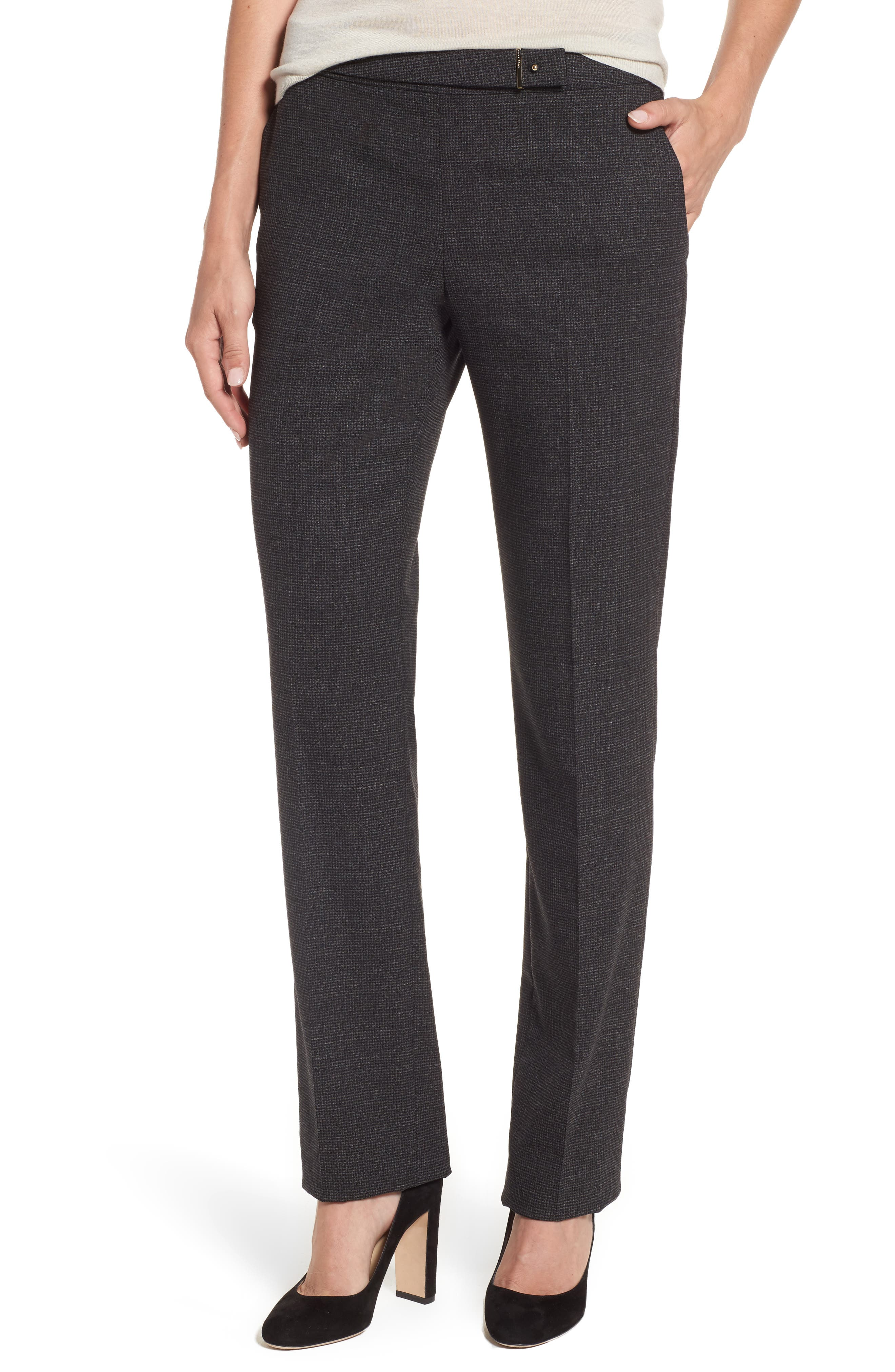 BOSS Tiokenia Check Straight Leg Trousers