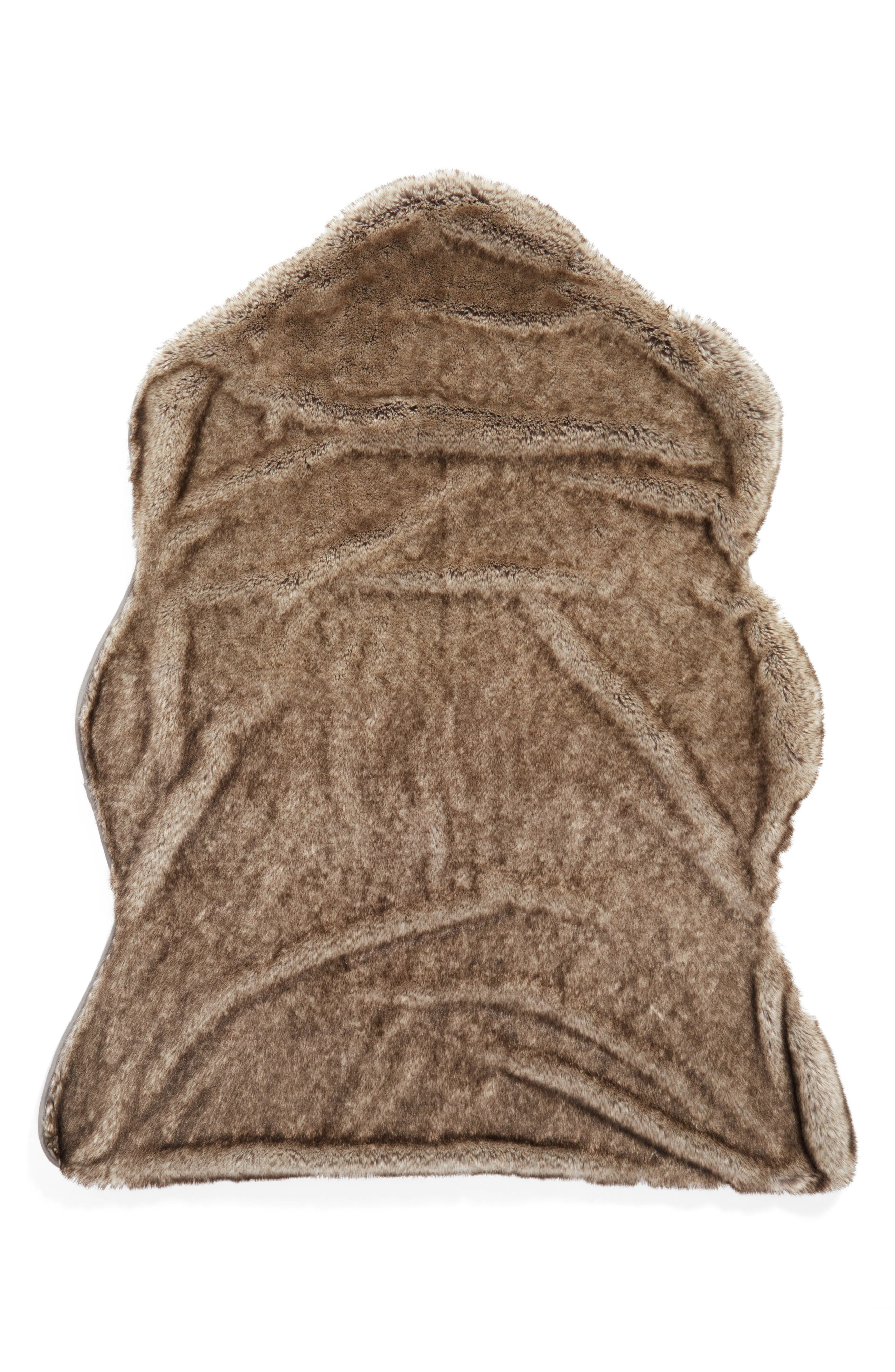 Cuddle Up Faux Fur Shaped Rug,                         Main,                         color, New Natural Tipped