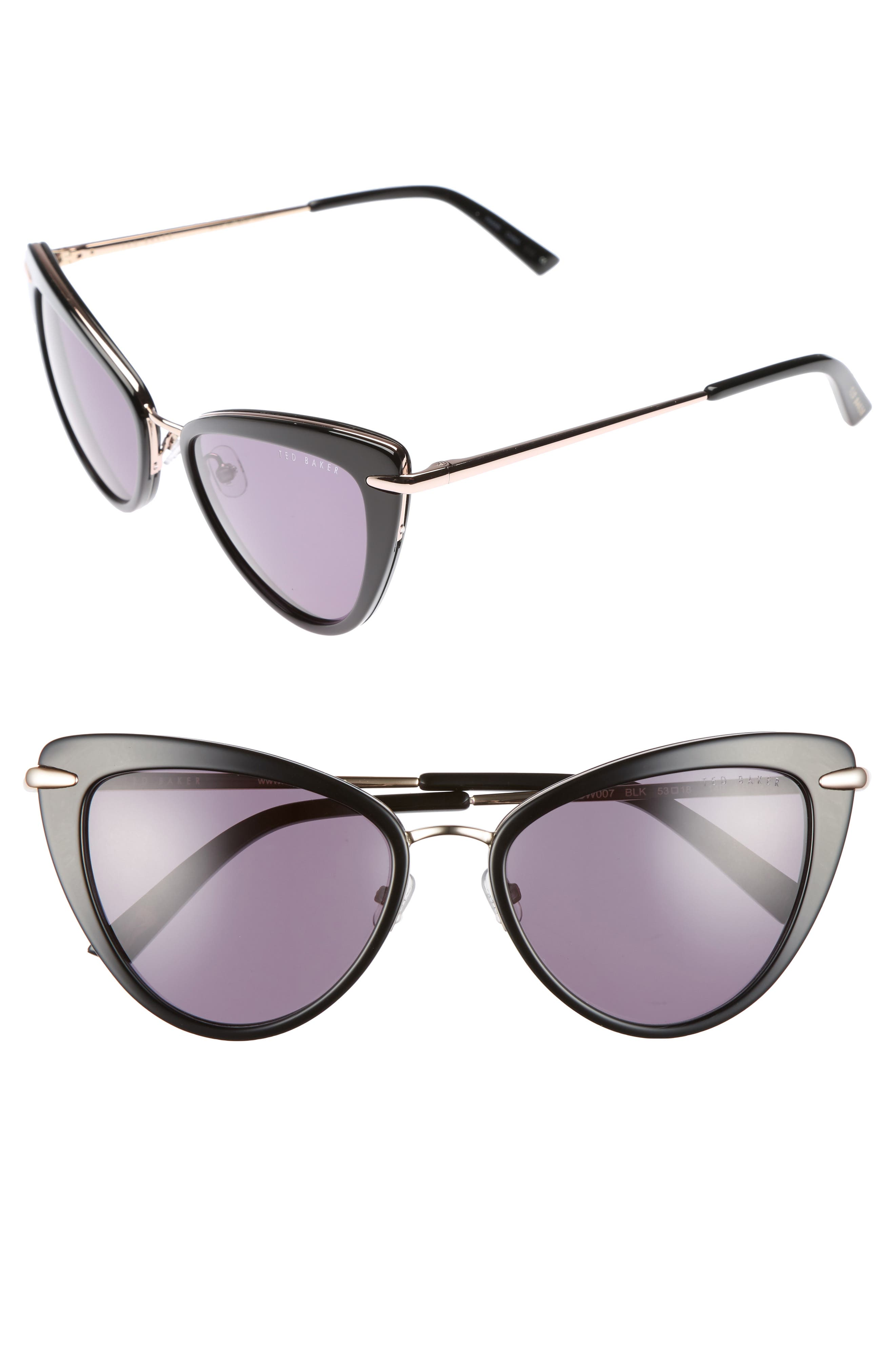 53mm Cat Eye Sunglasses,                         Main,                         color, Black