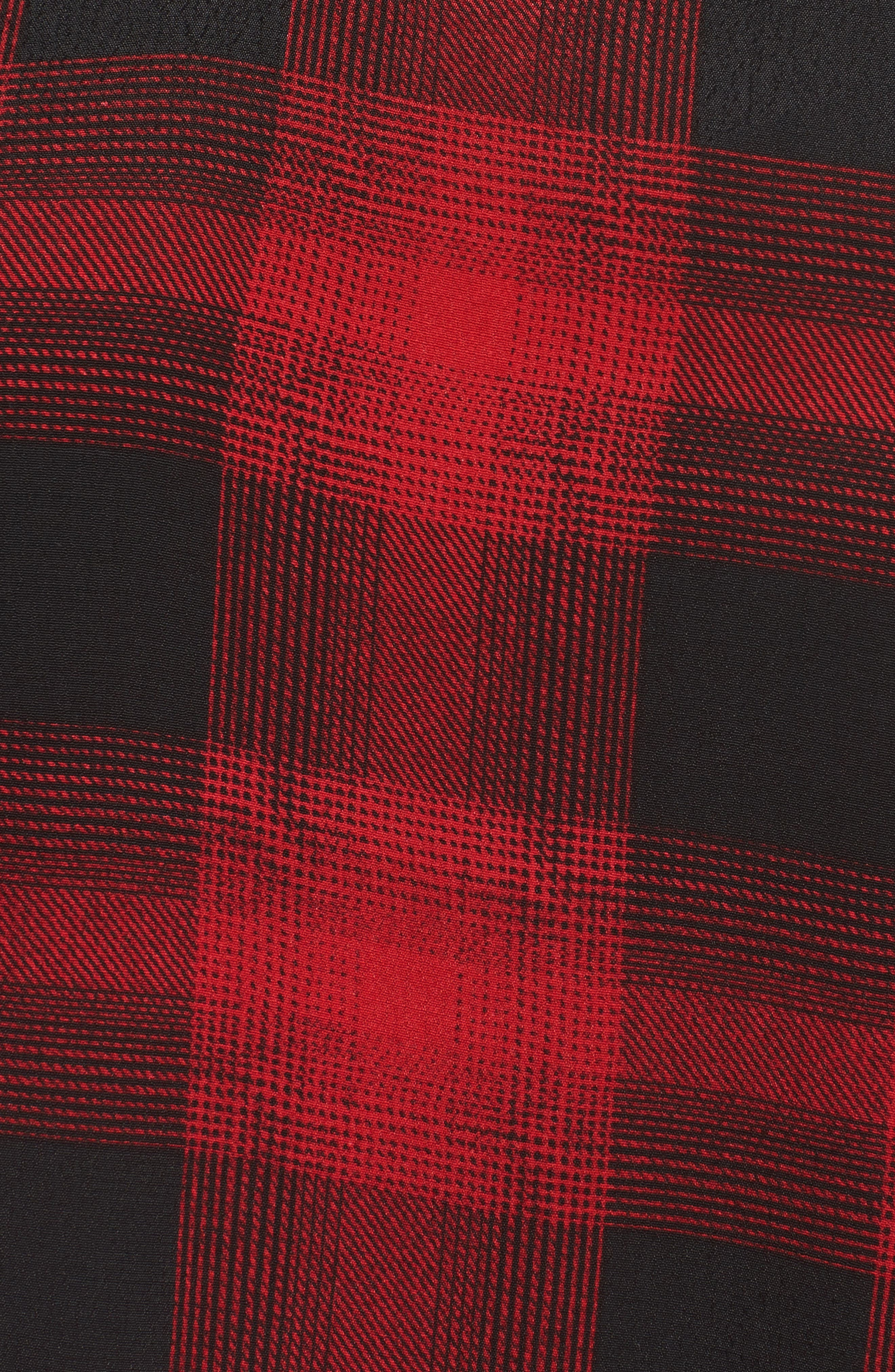 V-Neck Peplum Top,                             Alternate thumbnail 5, color,                             Black- Red Grady Plaid