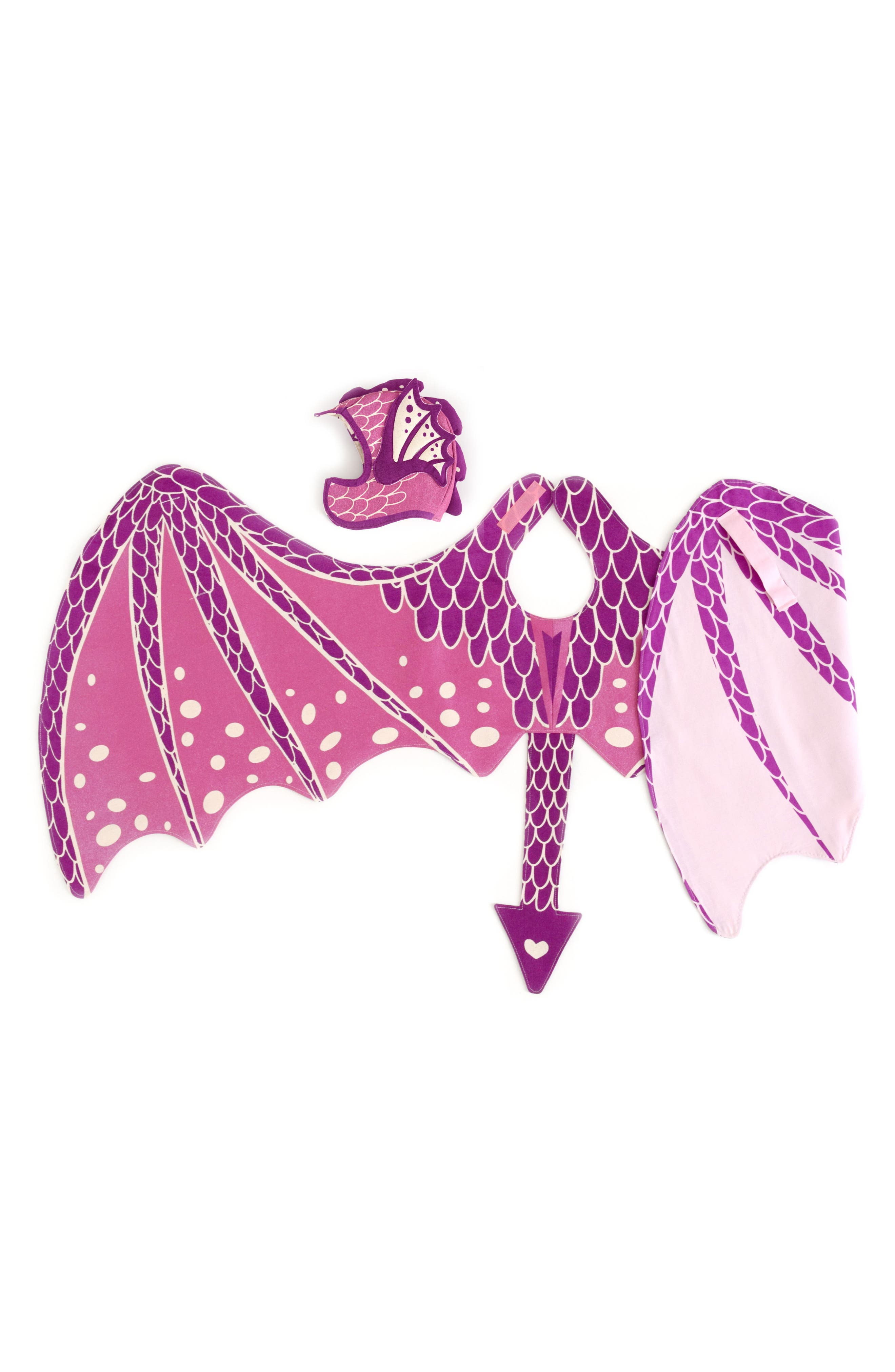 Dragon Wings & Hat Costume Set,                             Alternate thumbnail 4, color,                             Pink