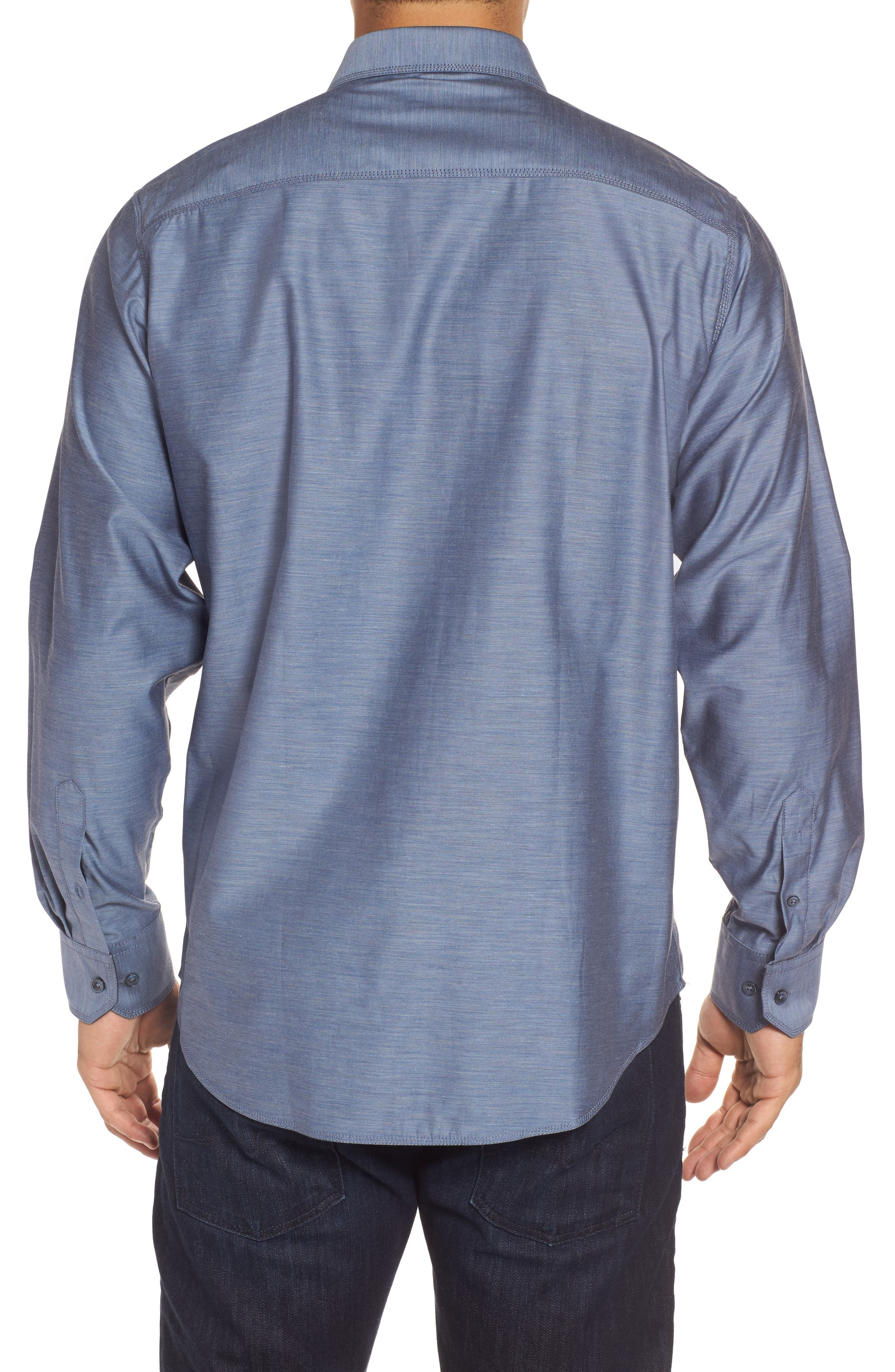Classic Fit Sport Shirt,                             Alternate thumbnail 2, color,                             Steel
