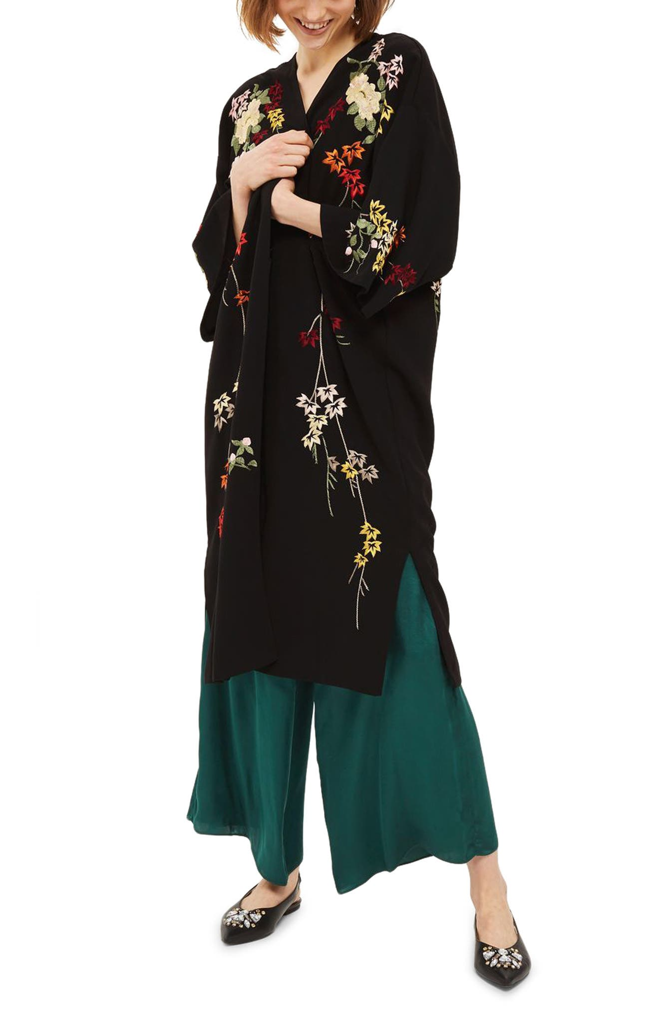Floral Embroidered Kimono,                             Main thumbnail 1, color,                             Black Multi