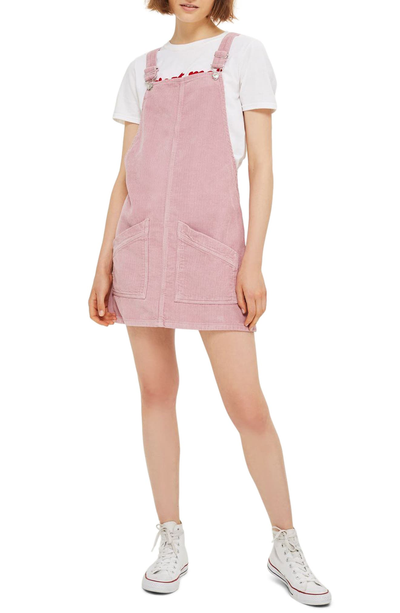 Alternate Image 1 Selected - Topshop Corduroy Pinafore Dress