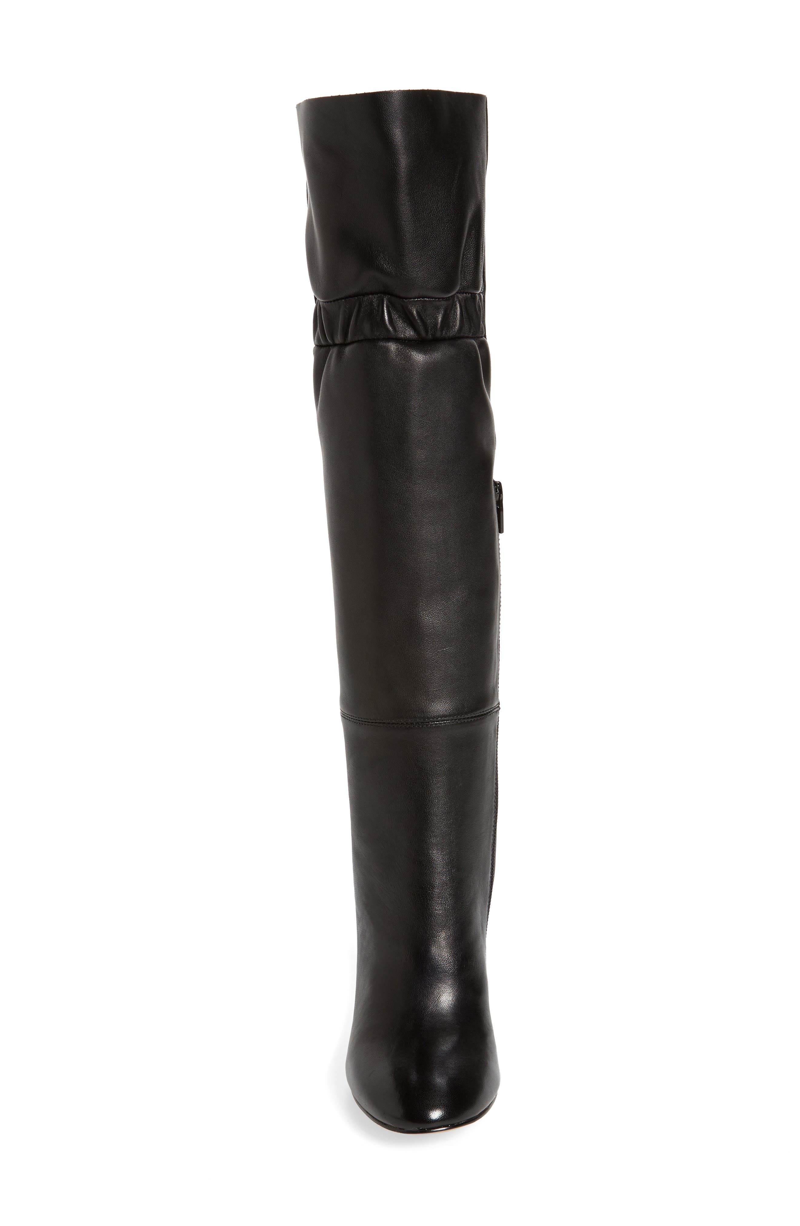 Ruby Knee High Boot,                             Alternate thumbnail 4, color,                             Black Leather