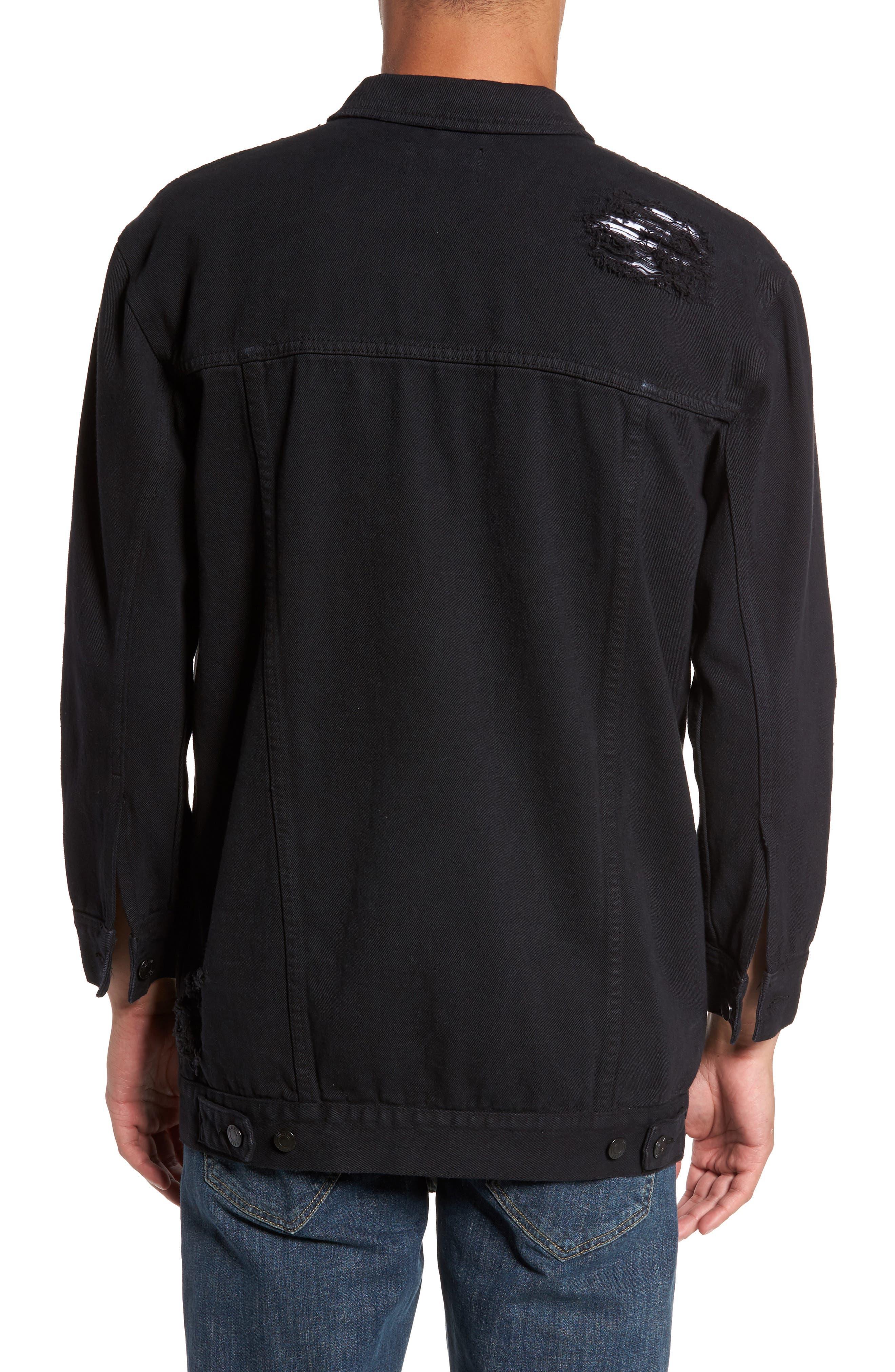 Lindso Distressed Denim Jacket,                             Alternate thumbnail 2, color,                             Black Damage