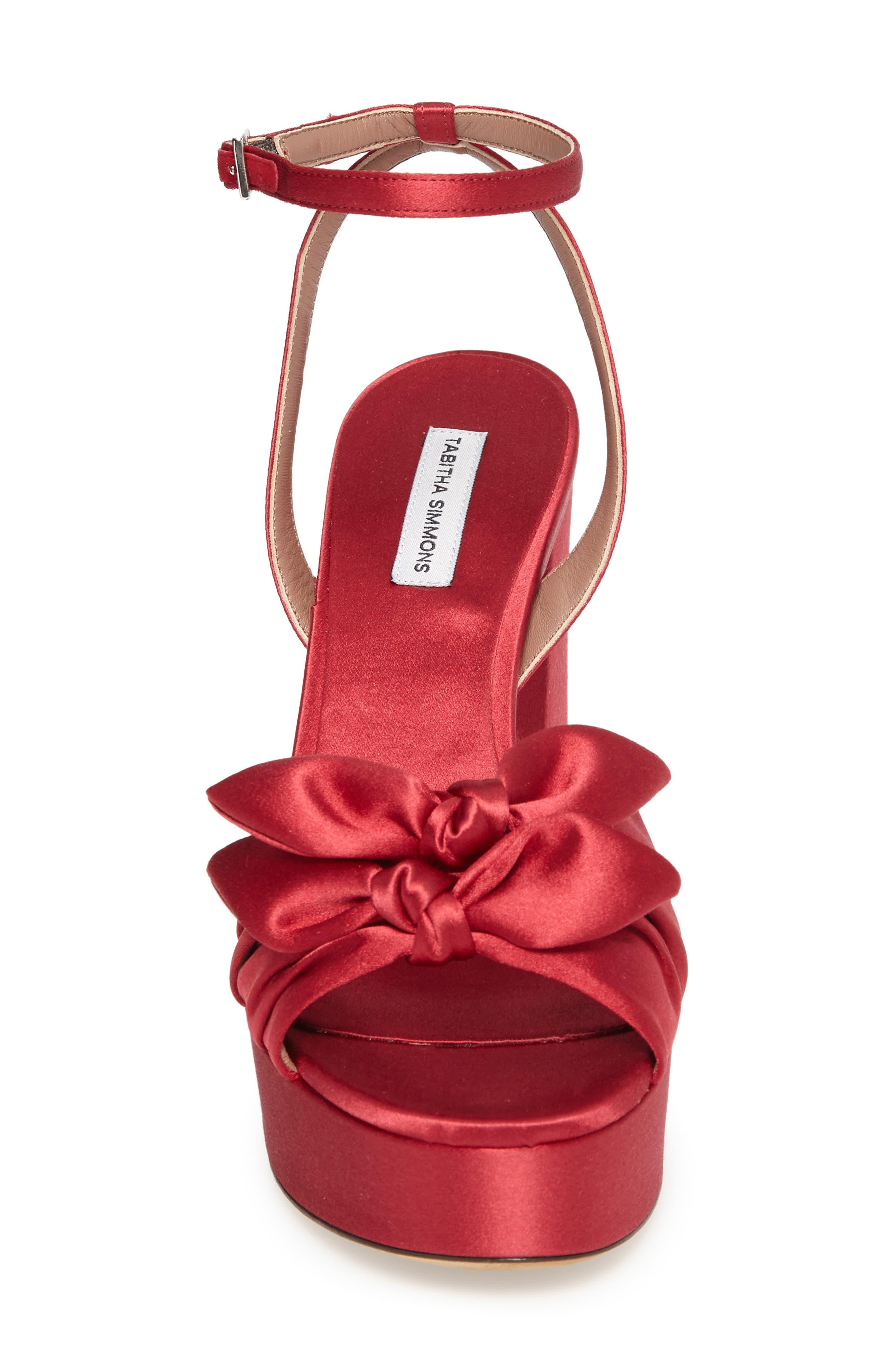 Jodie Platform Sandal,                             Alternate thumbnail 4, color,                             Red
