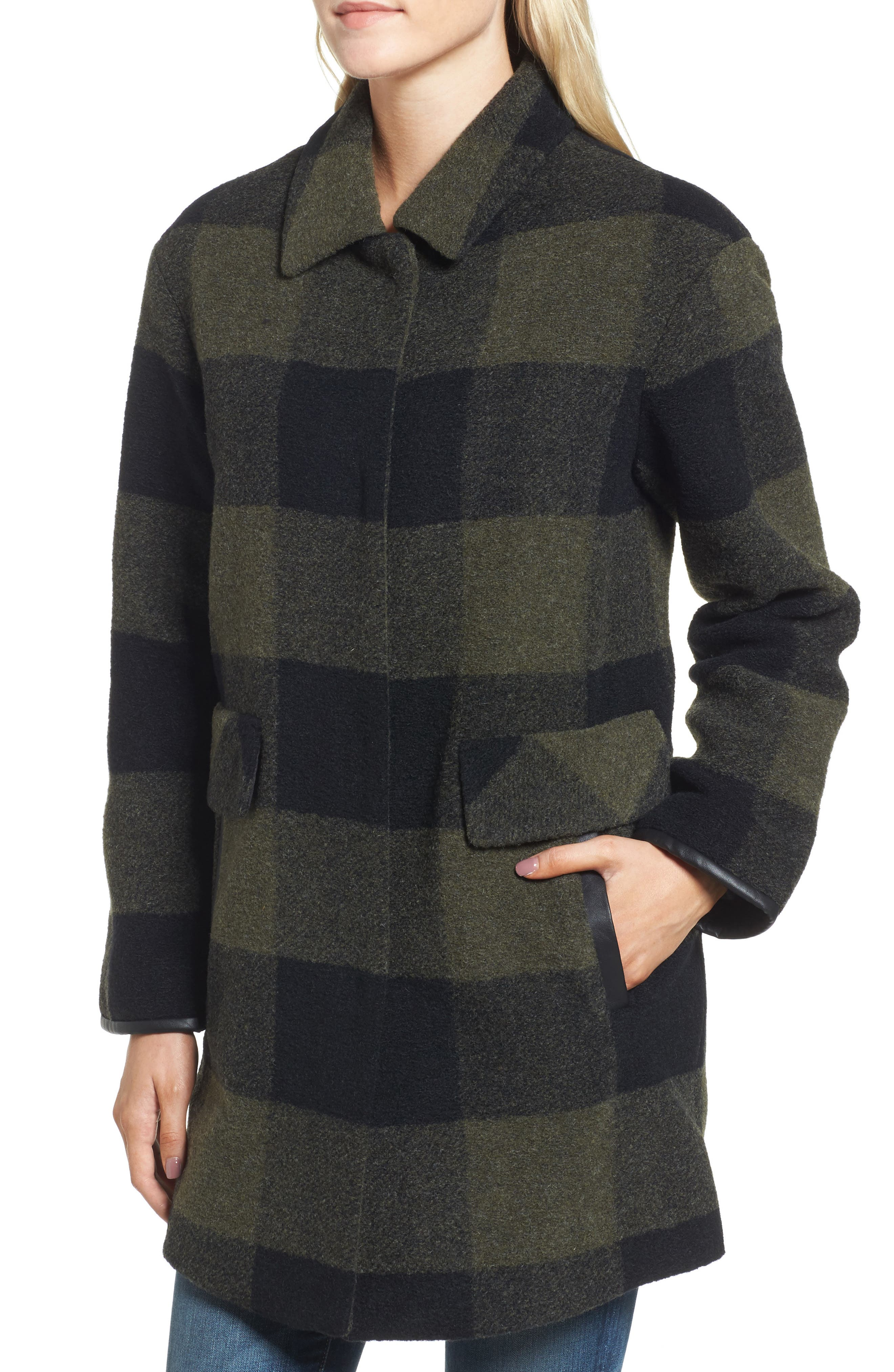 Paul Bunyan Plaid Wool Blend Barn Coat,                             Alternate thumbnail 4, color,                             Olive/ Black Plaid