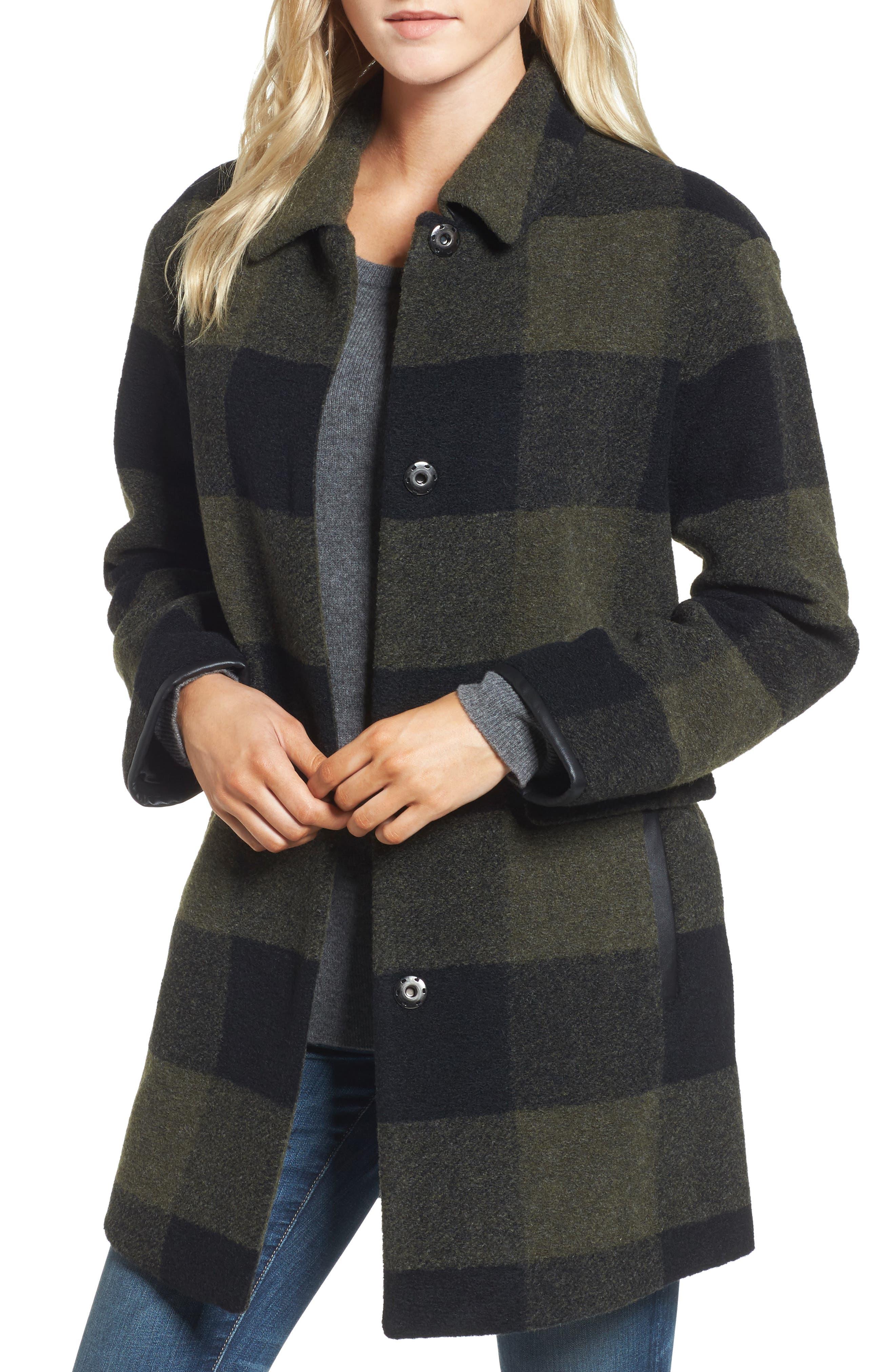 Paul Bunyan Plaid Wool Blend Barn Coat,                             Main thumbnail 1, color,                             Olive/ Black Plaid