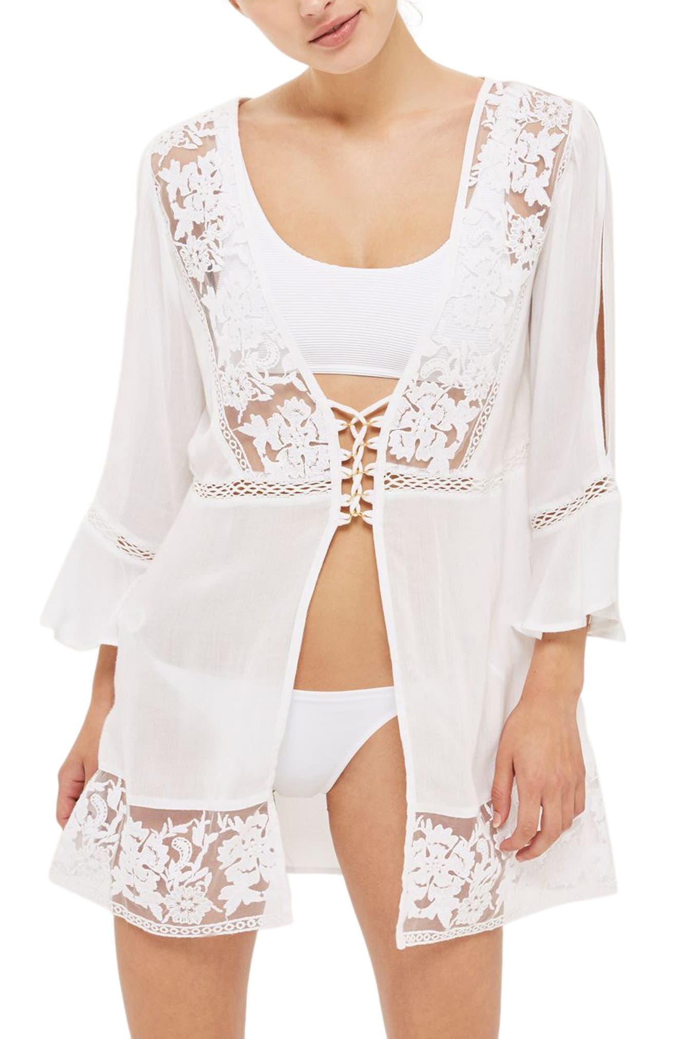 Topshop Lace-Up Cover-Up Caftan