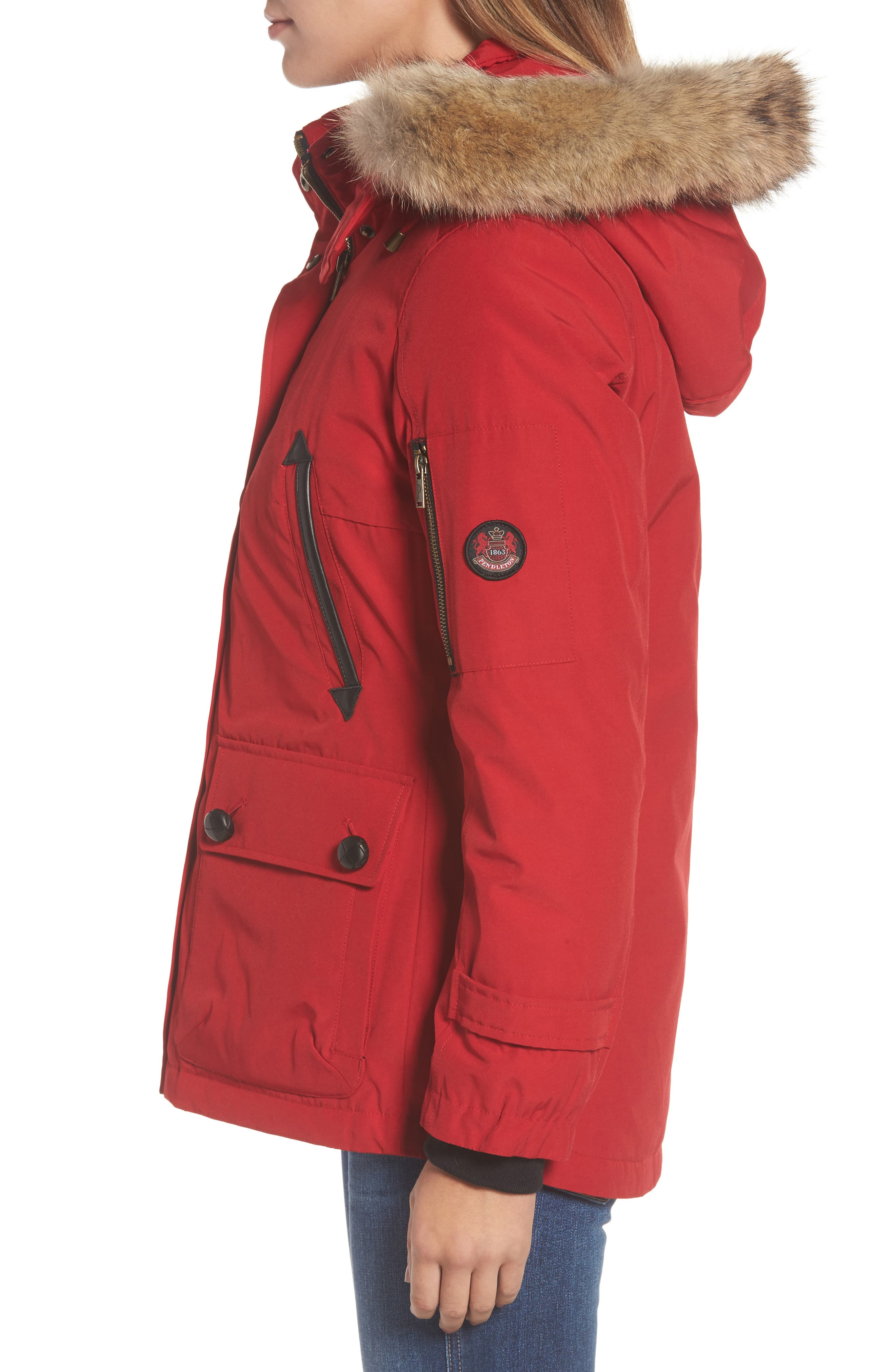 Alternate Image 3  - Pendleton Bachelor Water Repellent Hooded Down Parka with Genuine Coyote Fur Trim