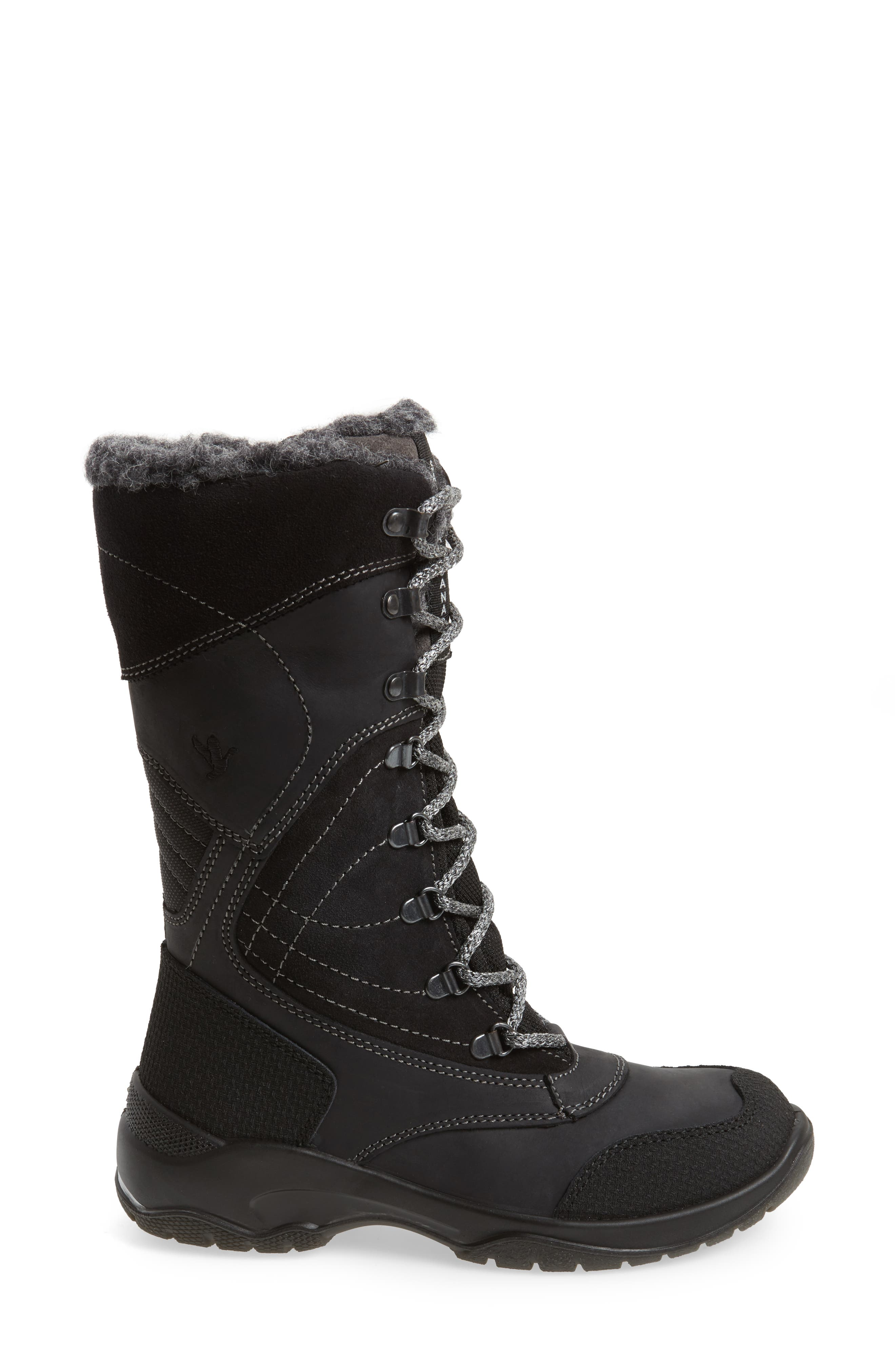Topspeed Faux Fur Lined Waterproof Boot,                             Alternate thumbnail 3, color,                             Black Leather
