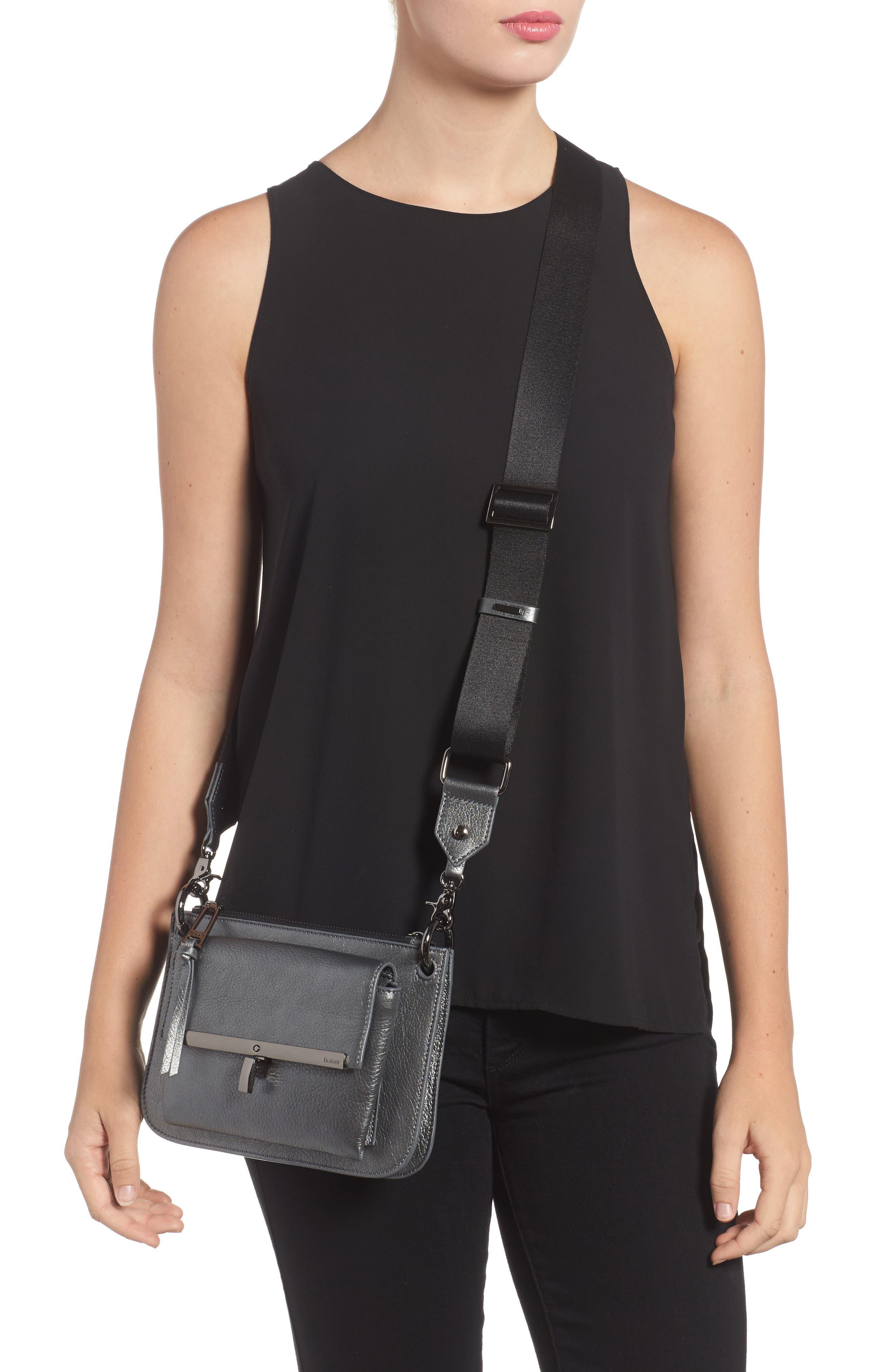 Bleeker Leather Double Shoulder Bag,                             Alternate thumbnail 2, color,                             Gunmetal