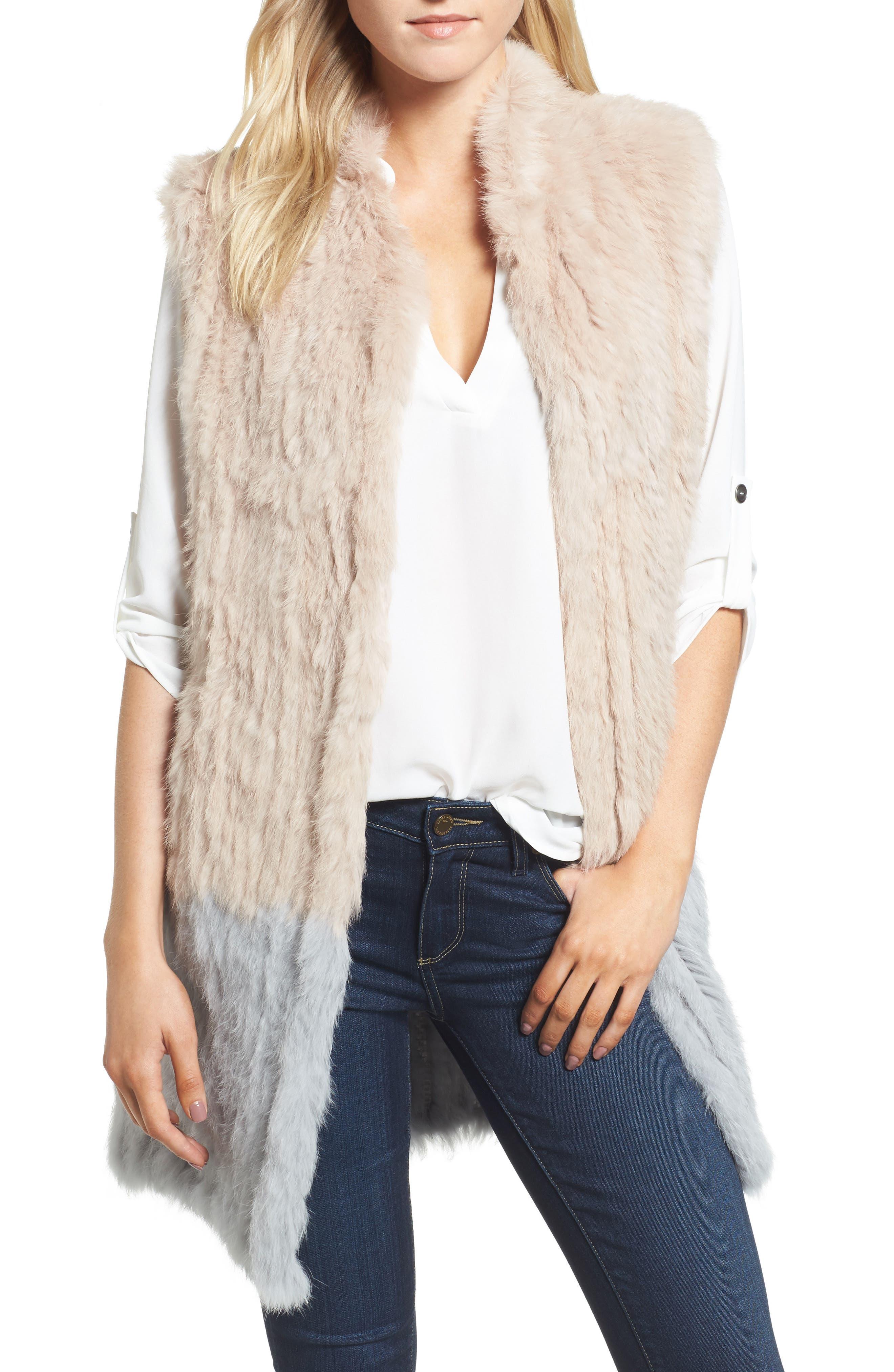 Clean Colorblock Genuine Rabbit Fur Vest,                             Main thumbnail 1, color,                             Blush/ Grey