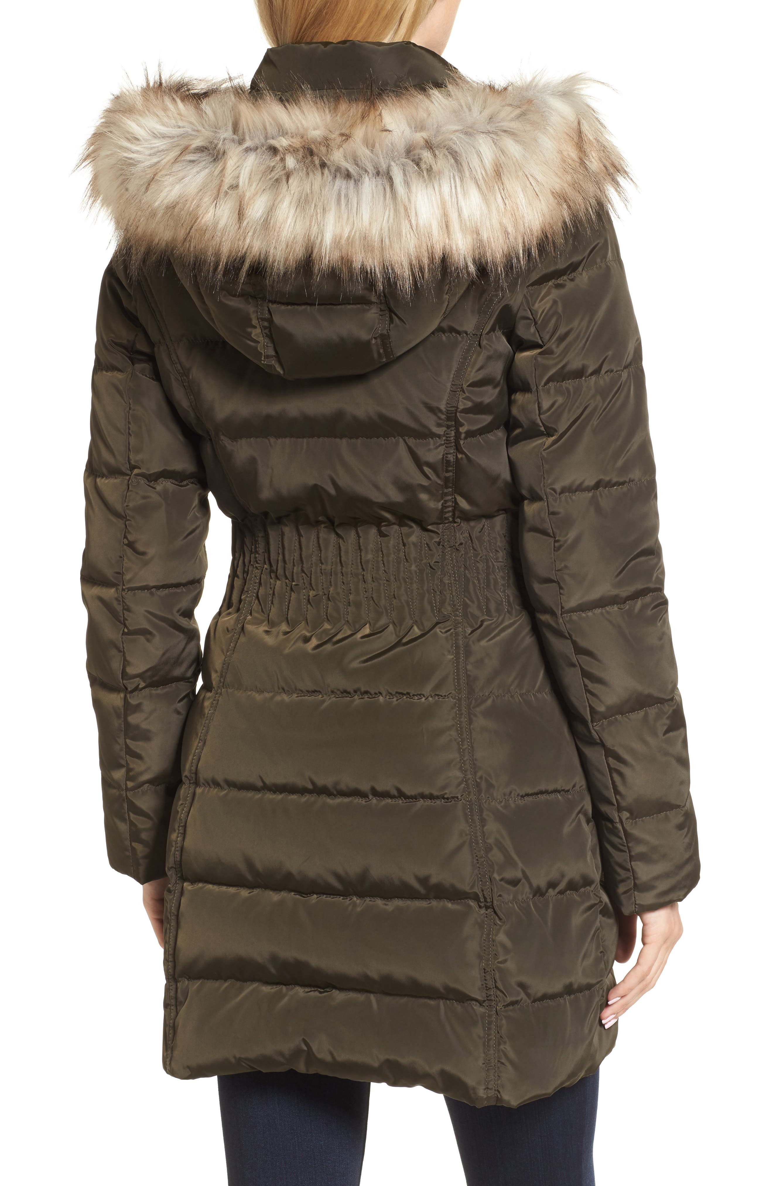 Alternate Image 2  - Laundry by Shelli Segal Hooded Quilted Jacket with Faux Fur Trim