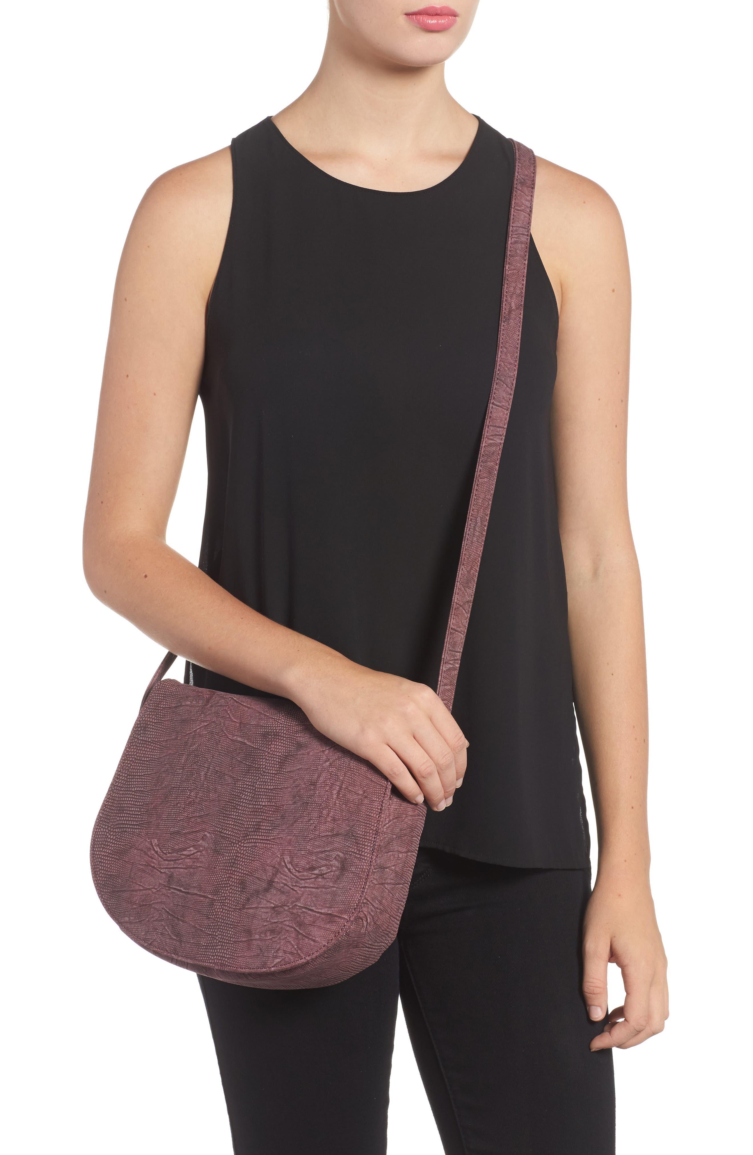Livvy Faux Leather Crossbody Saddle Bag,                             Alternate thumbnail 2, color,                             Oxblood