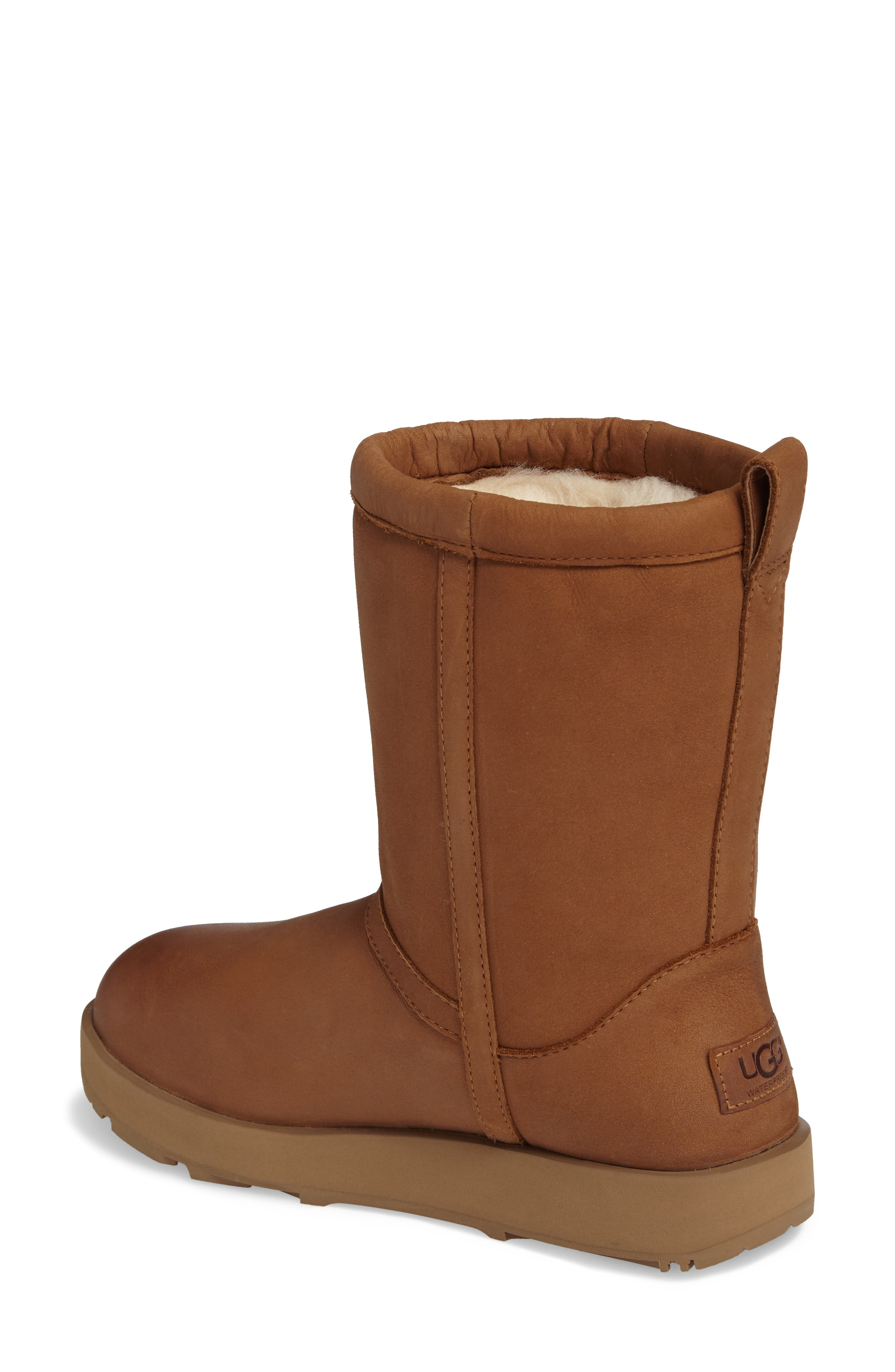 Classic Genuine Shearling Lined Short Waterproof Boot,                             Alternate thumbnail 2, color,                             Chestnut Leather