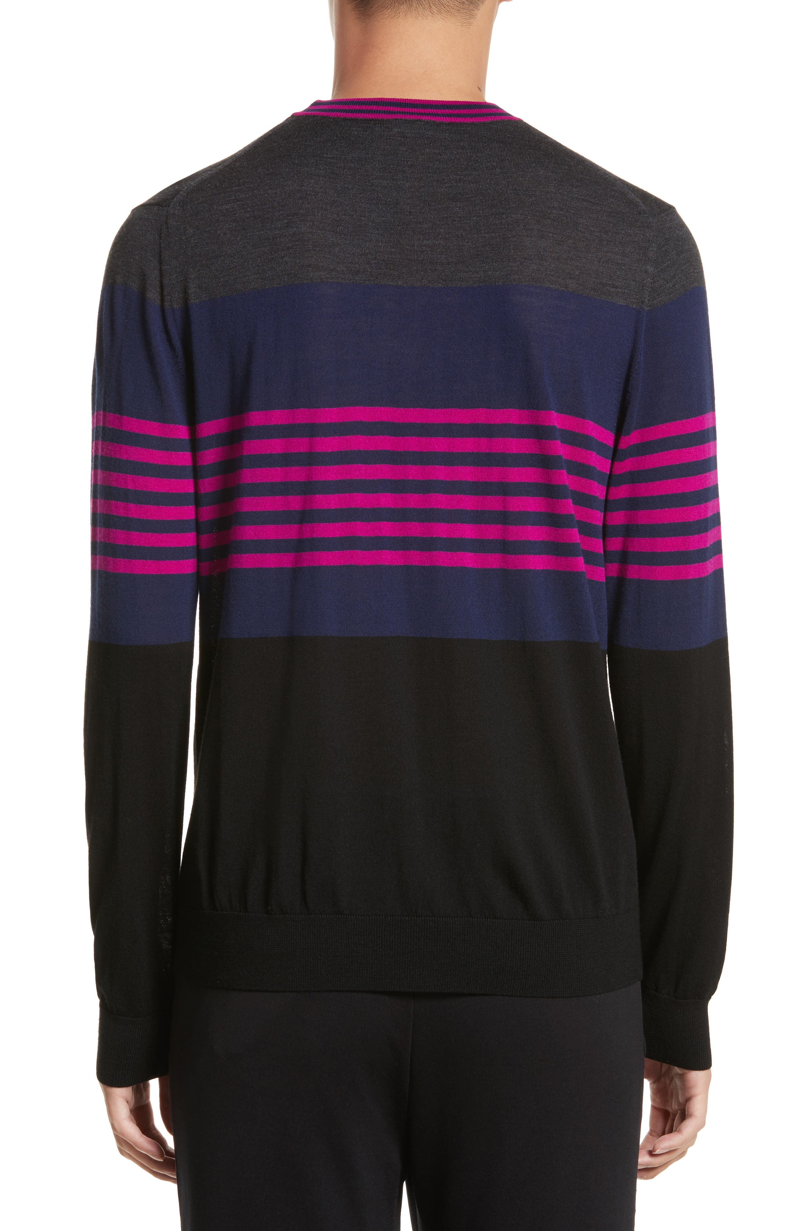Stripe Merino Wool Crewneck Sweater,                             Alternate thumbnail 2, color,                             Grey Multi